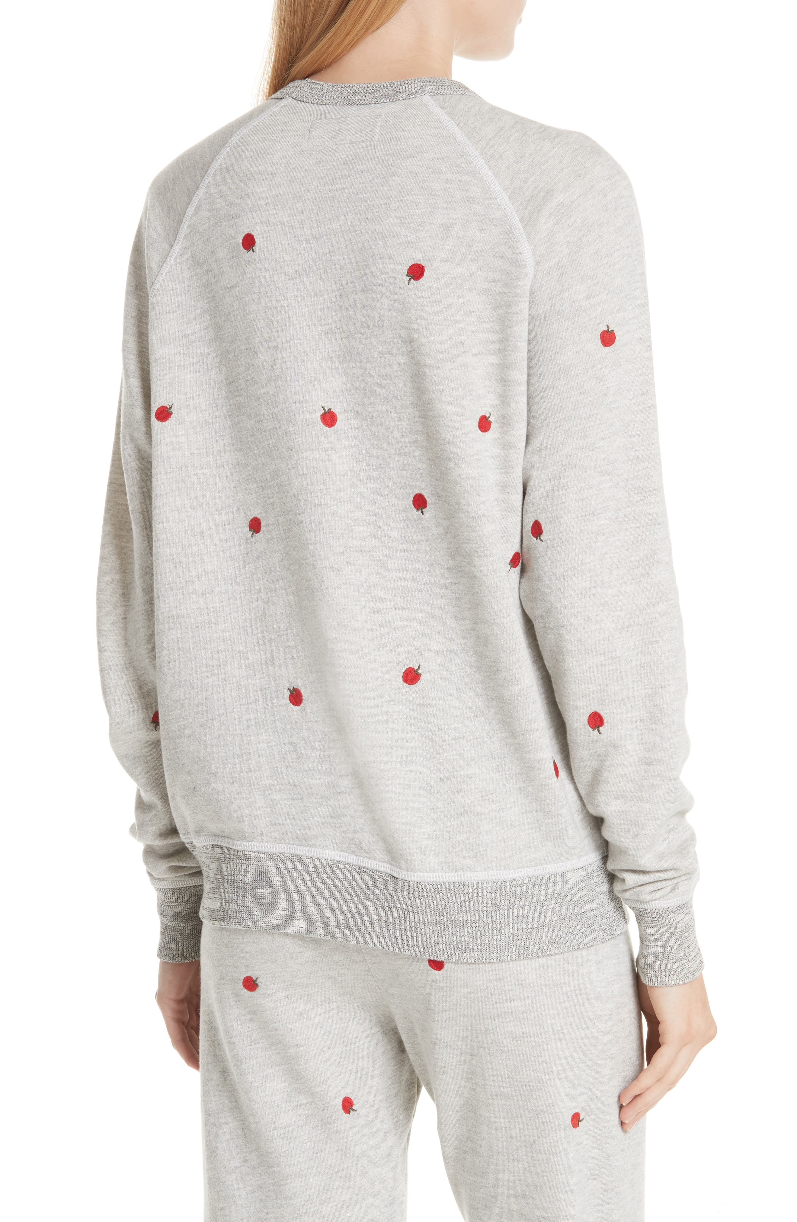 College Sweatshirt,                             Alternate thumbnail 2, color,                             Light Heather Grey/ Red Apples