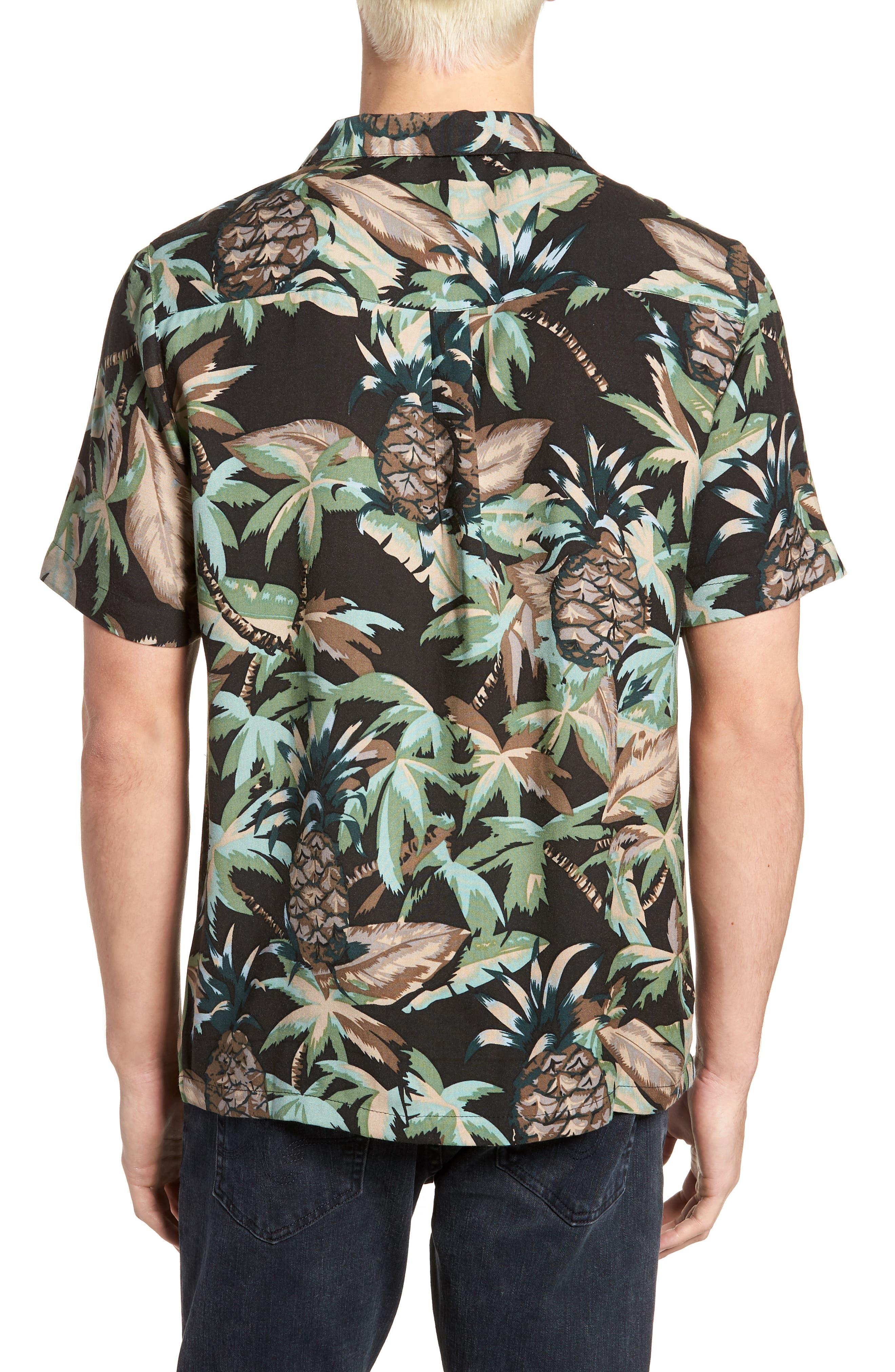Night Beach Woven Shirt,                             Alternate thumbnail 3, color,                             Black