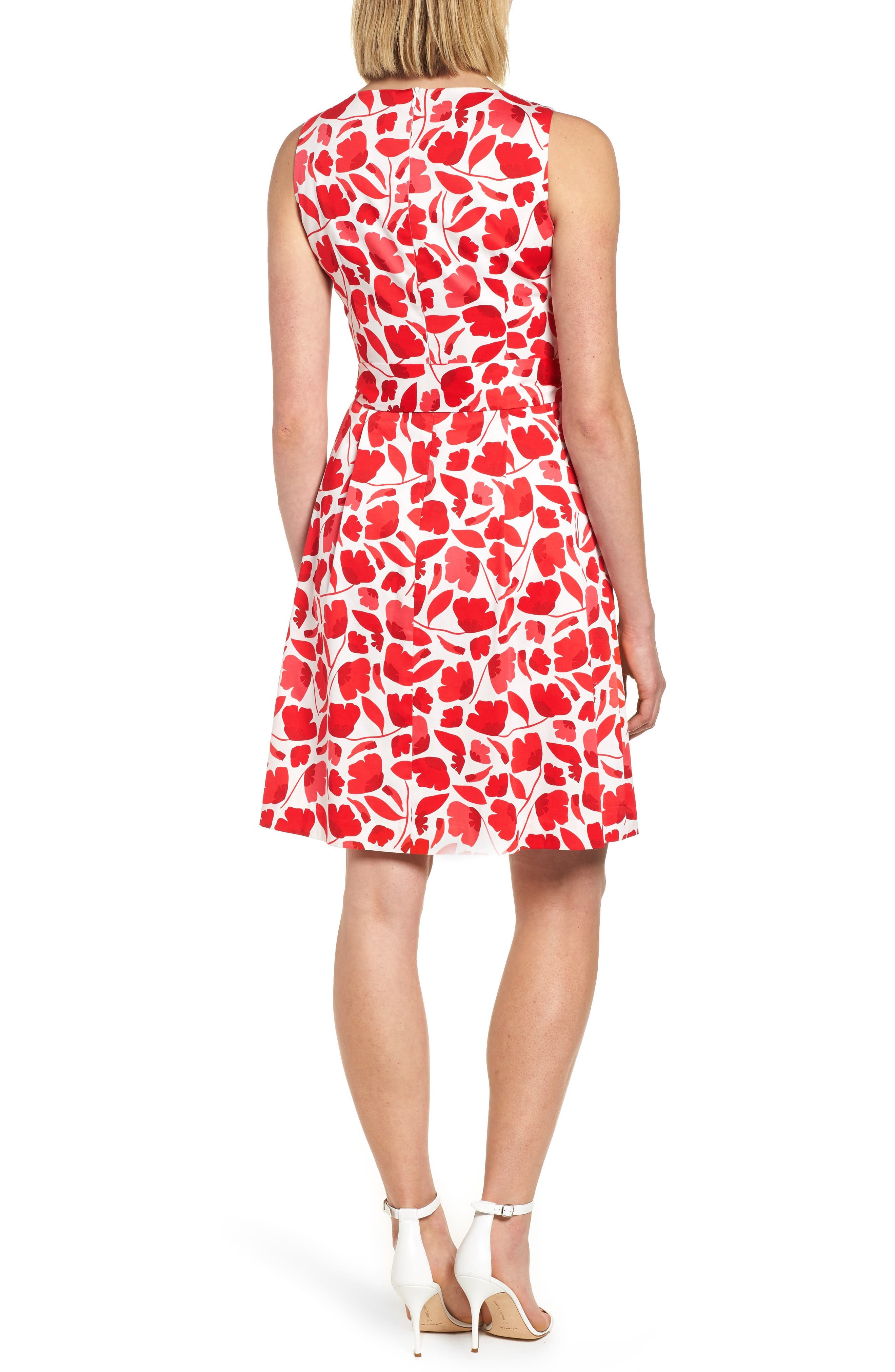 Floral Fit & Flare Dress,                             Alternate thumbnail 2, color,                             Tomato Combo