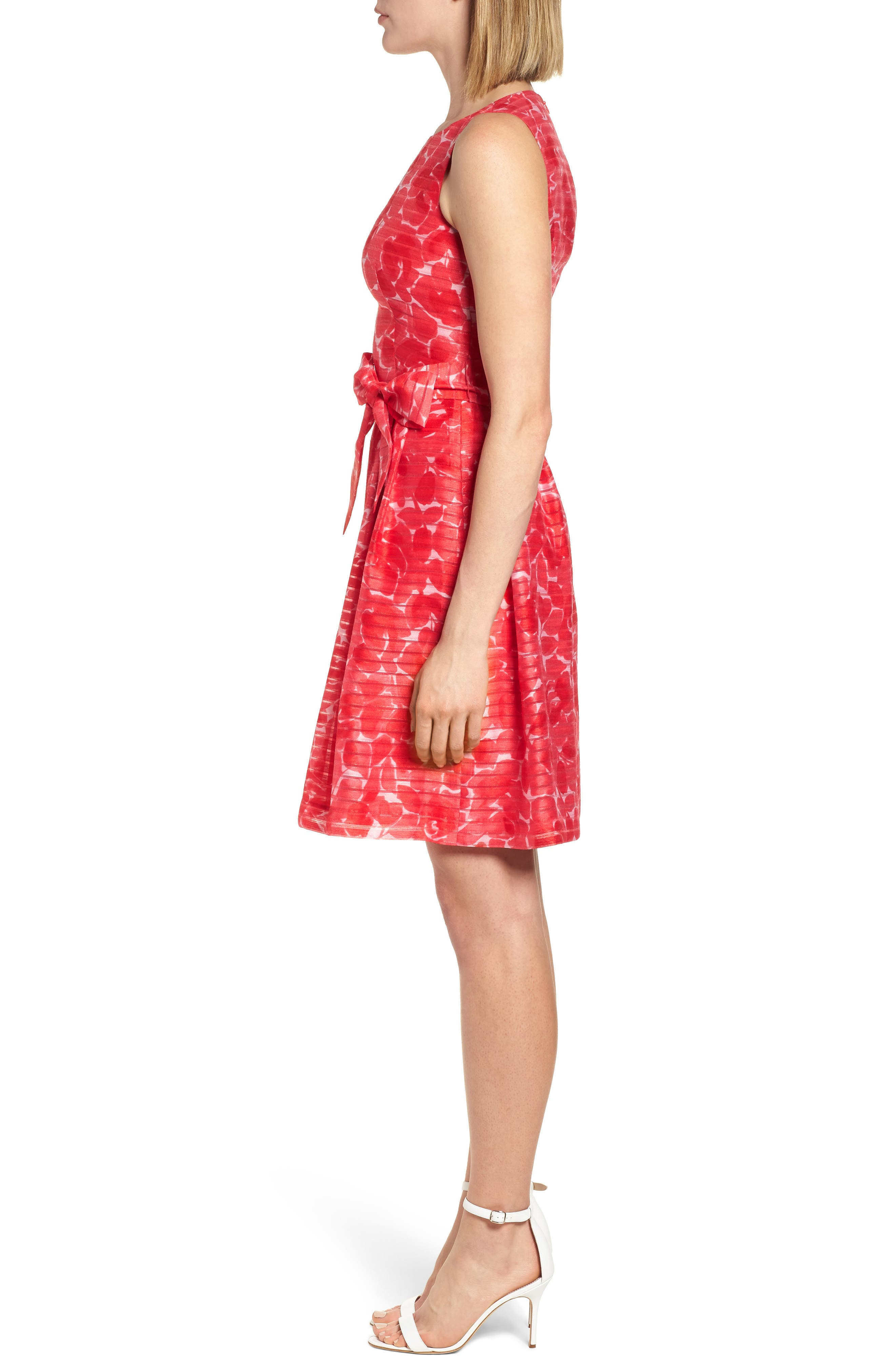 New York Rosewater Shadow Fit & Flare Dress,                             Alternate thumbnail 3, color,                             Tomato Combo