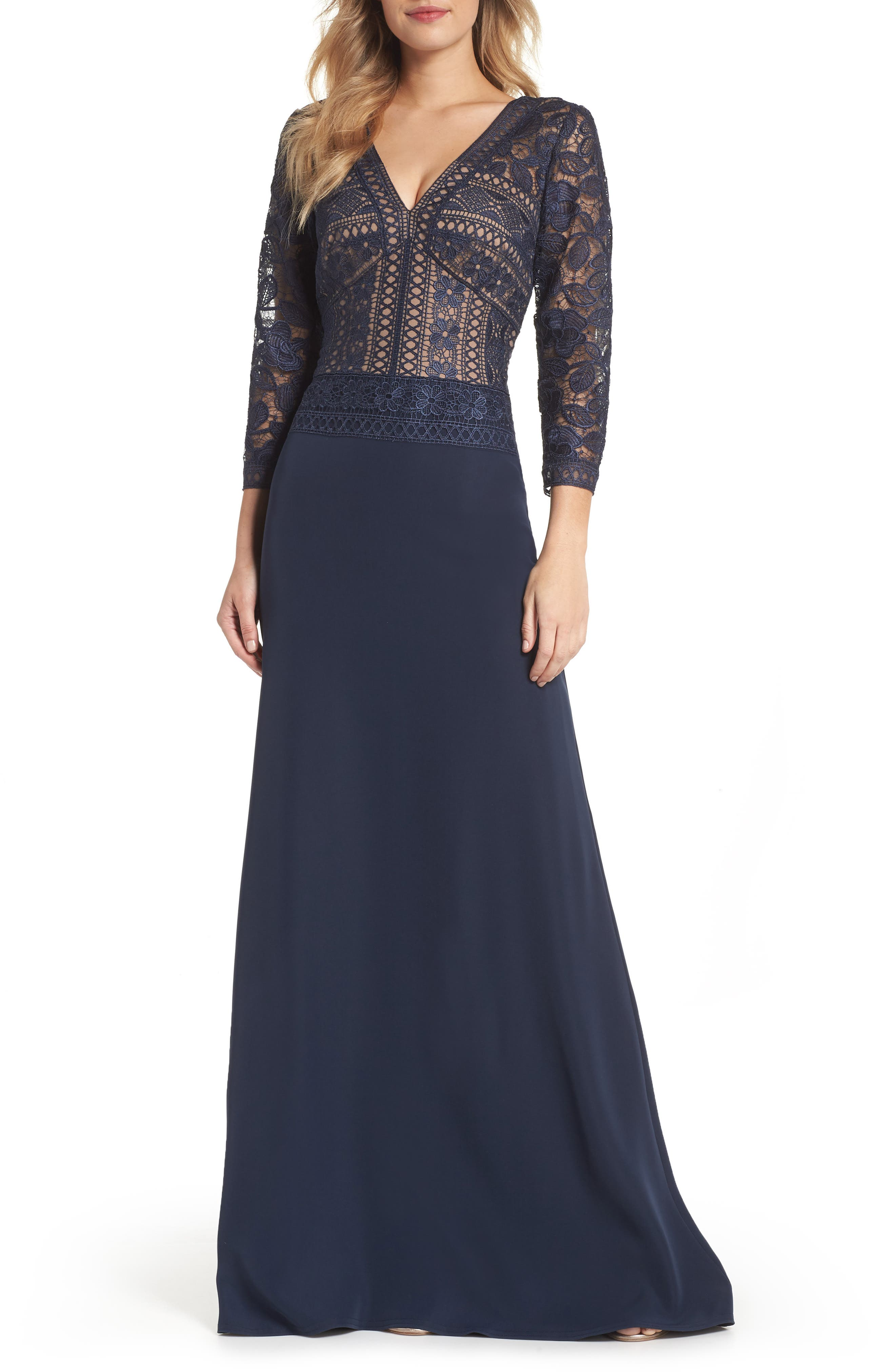 Lace & Crepe A-Line Gown,                         Main,                         color, Navy/ Nude