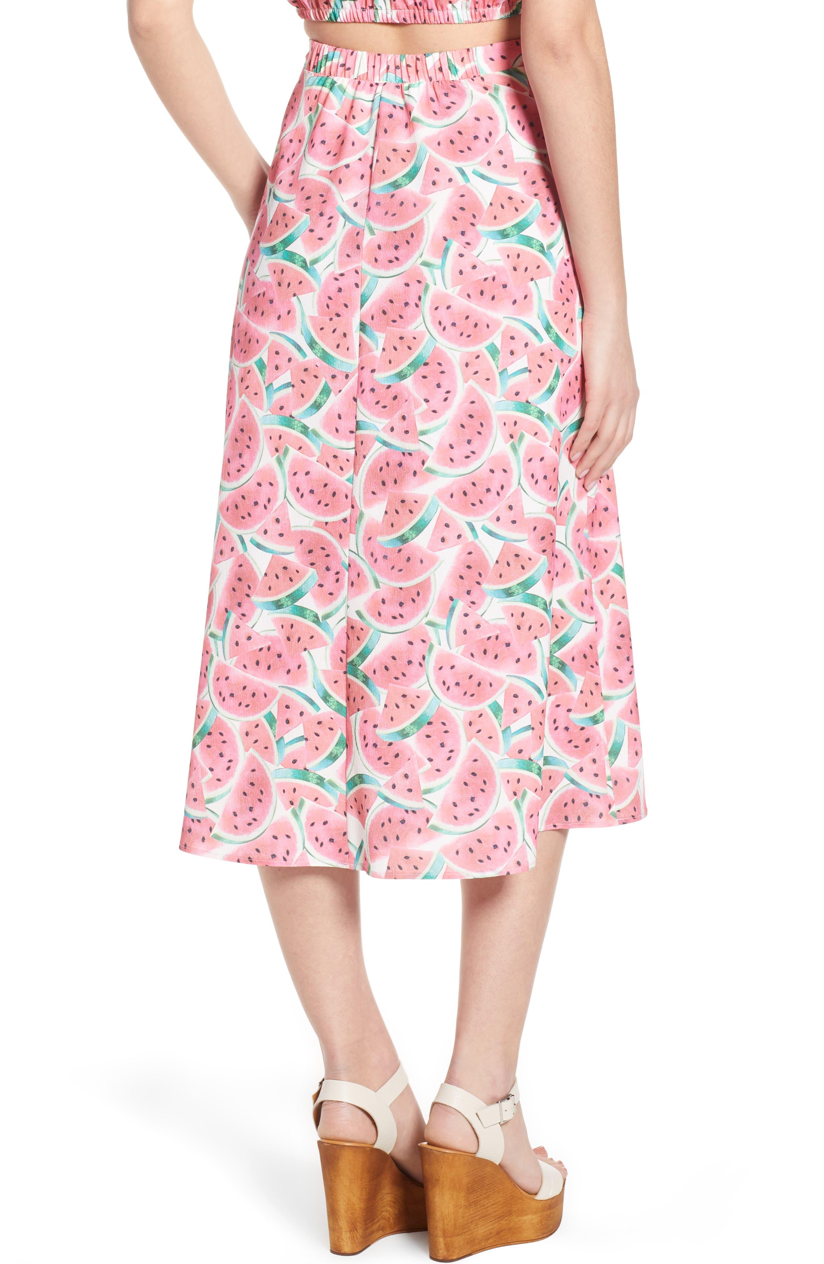 Flirt Midi Skirt,                             Alternate thumbnail 4, color,                             One In A Melon Crinkle Stretch