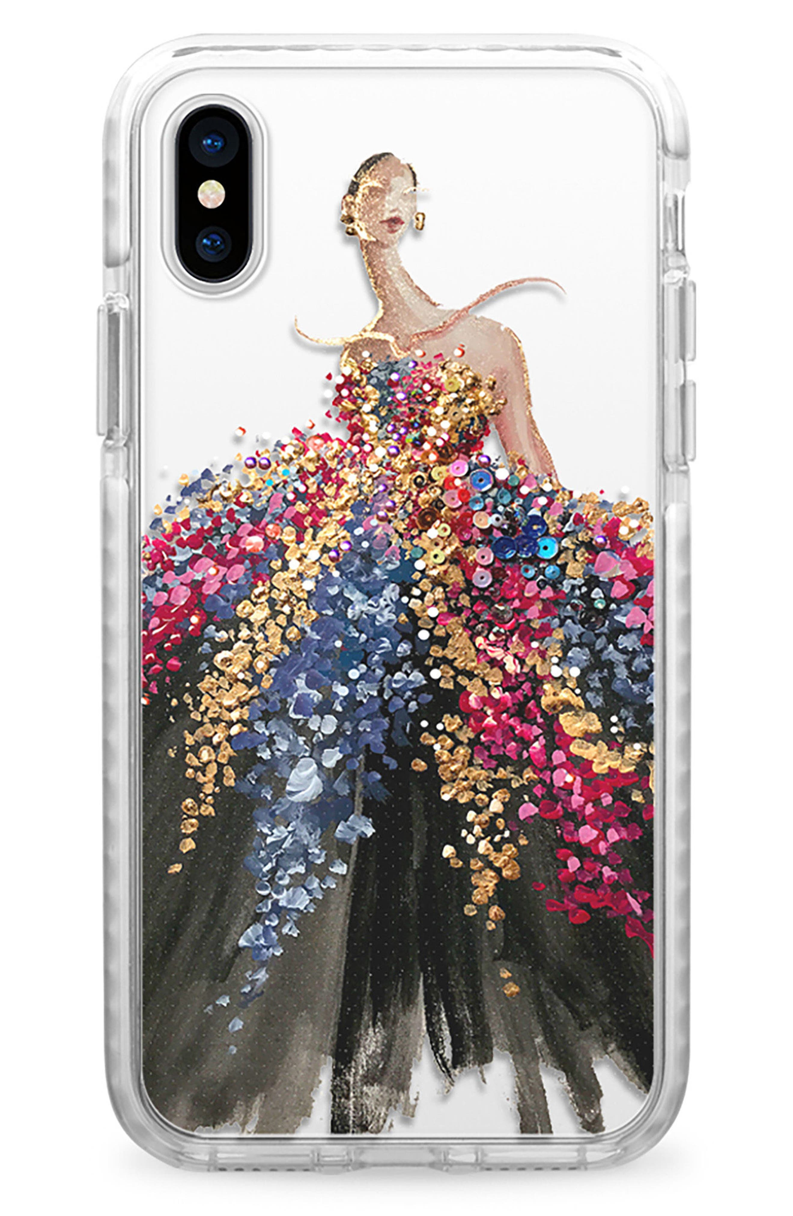 Blooming Gown iPhone X Case,                             Main thumbnail 1, color,                             Multi