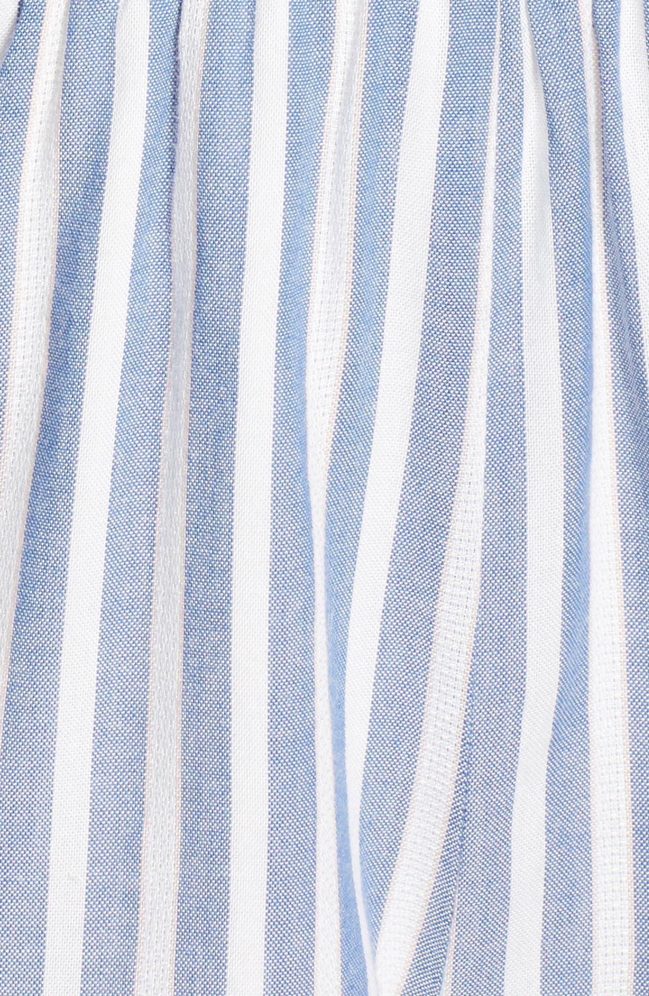 Smocked Romper,                             Alternate thumbnail 6, color,                             Blue/ White