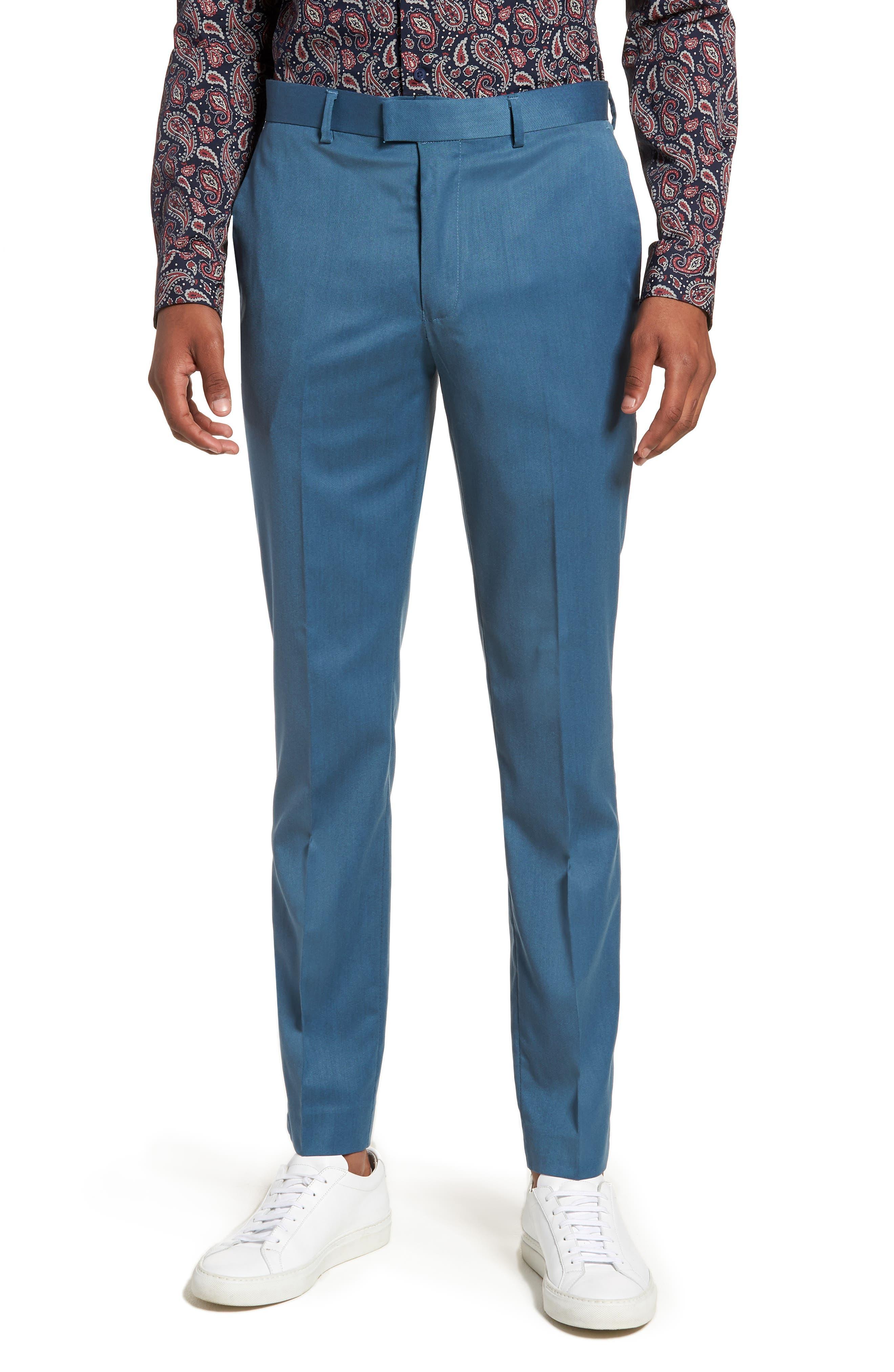 Skinny Fit Suit Trousers,                             Main thumbnail 1, color,                             Light Blue
