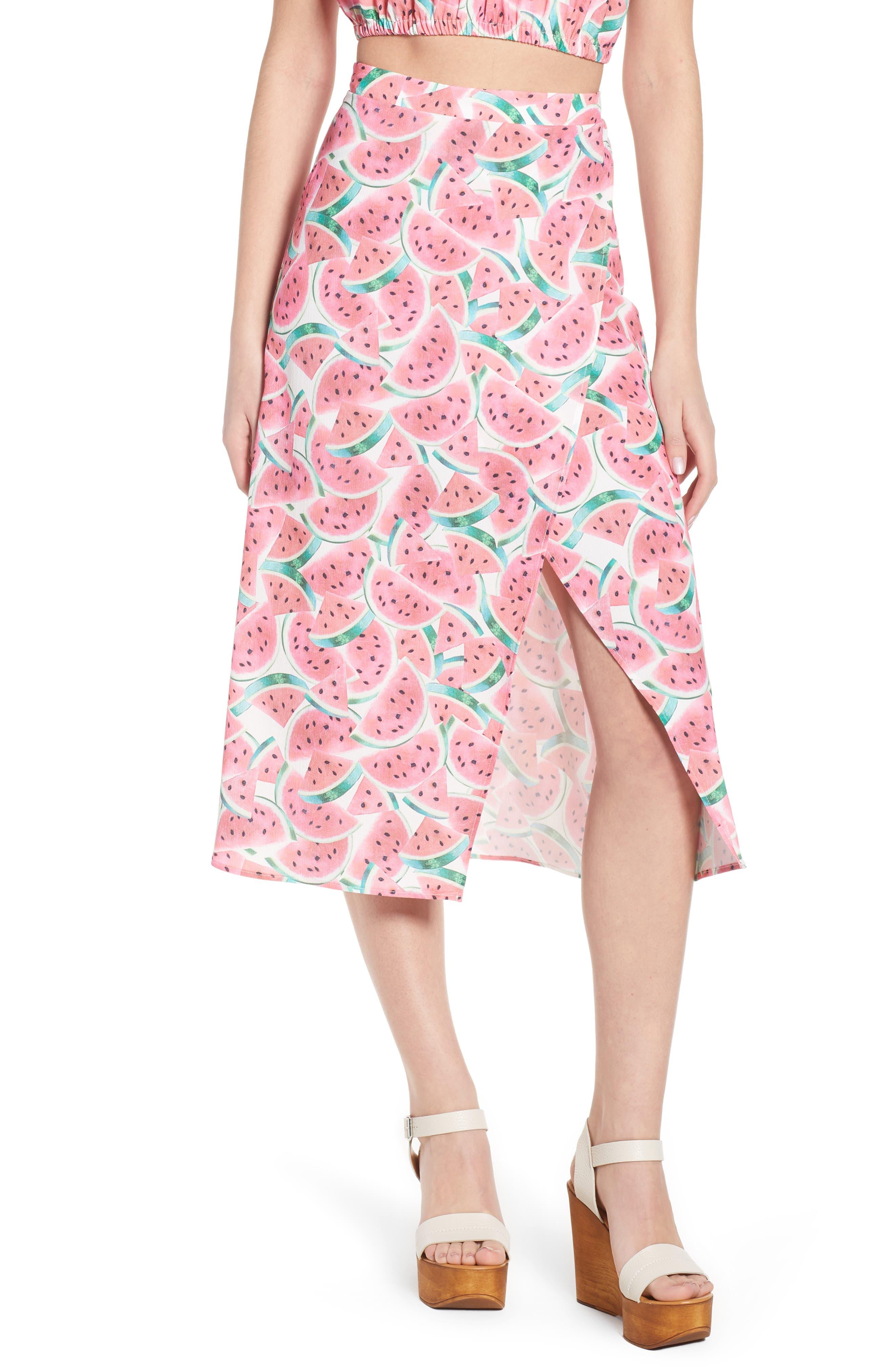 Flirt Midi Skirt,                             Main thumbnail 1, color,                             One In A Melon Crinkle Stretch