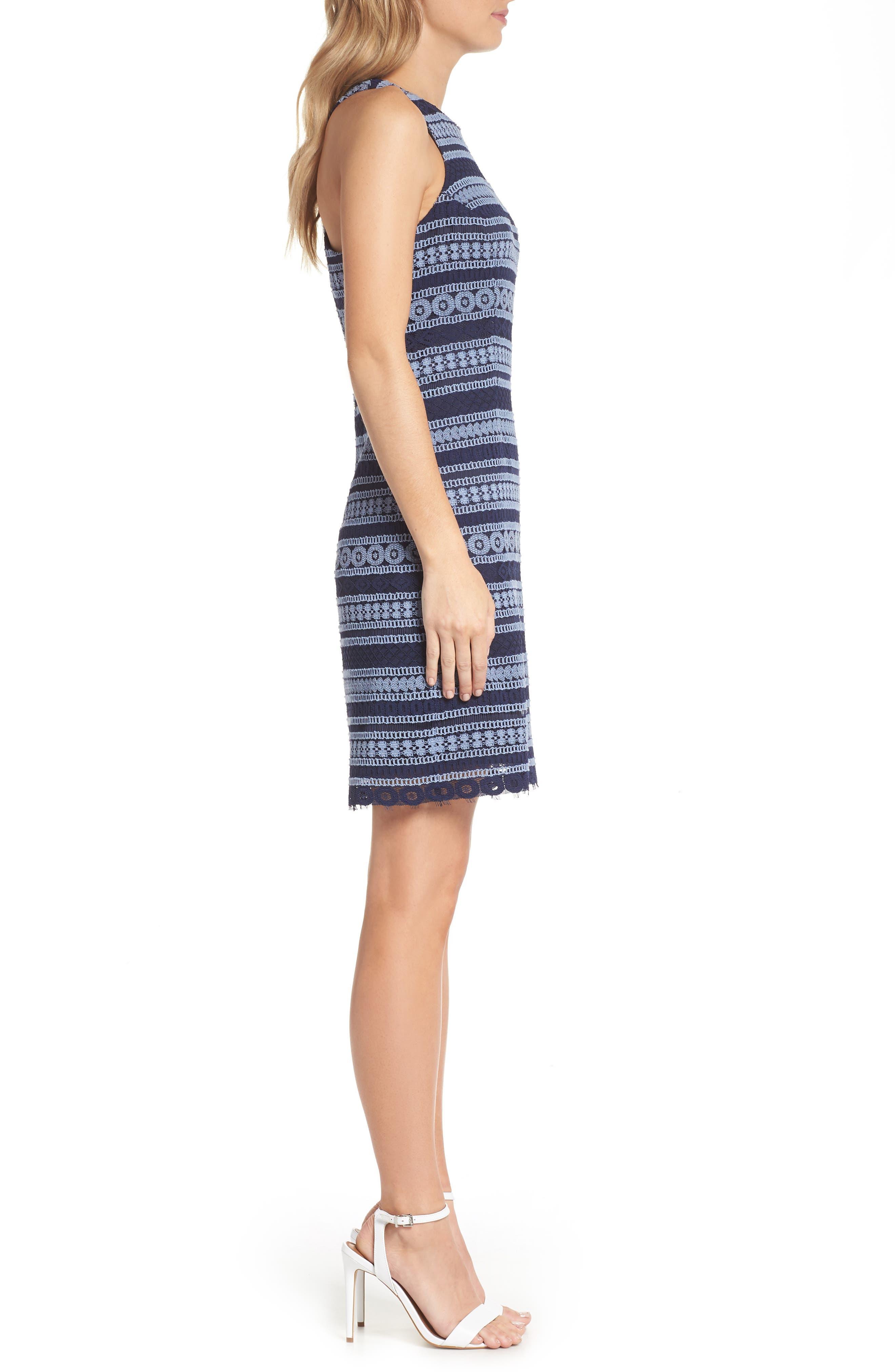 Stripe Racerback Lace Dress,                             Alternate thumbnail 3, color,                             Navy/ Blue