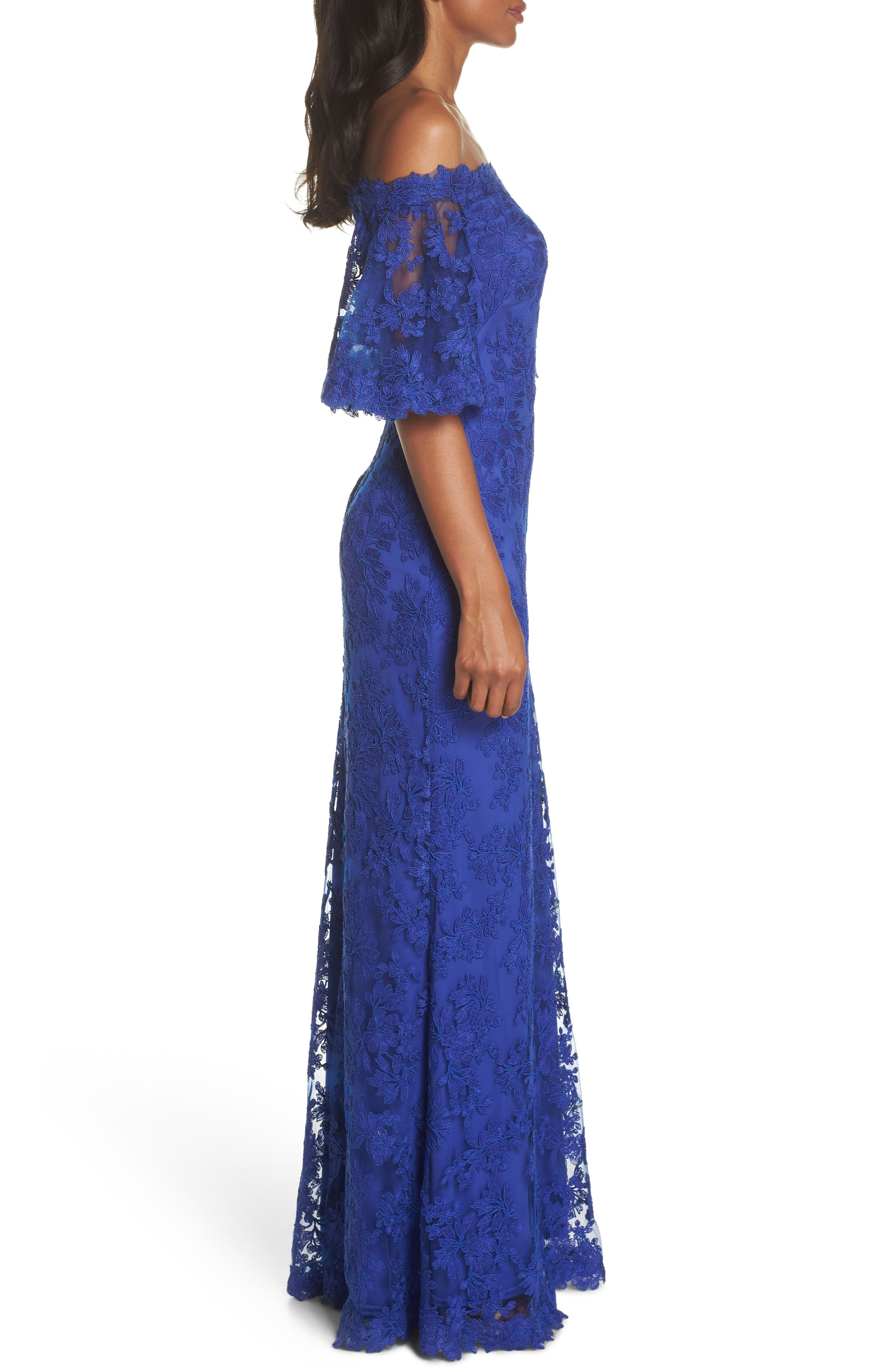 Off the Shoulder Lace Gown,                             Alternate thumbnail 3, color,                             Royal Iris