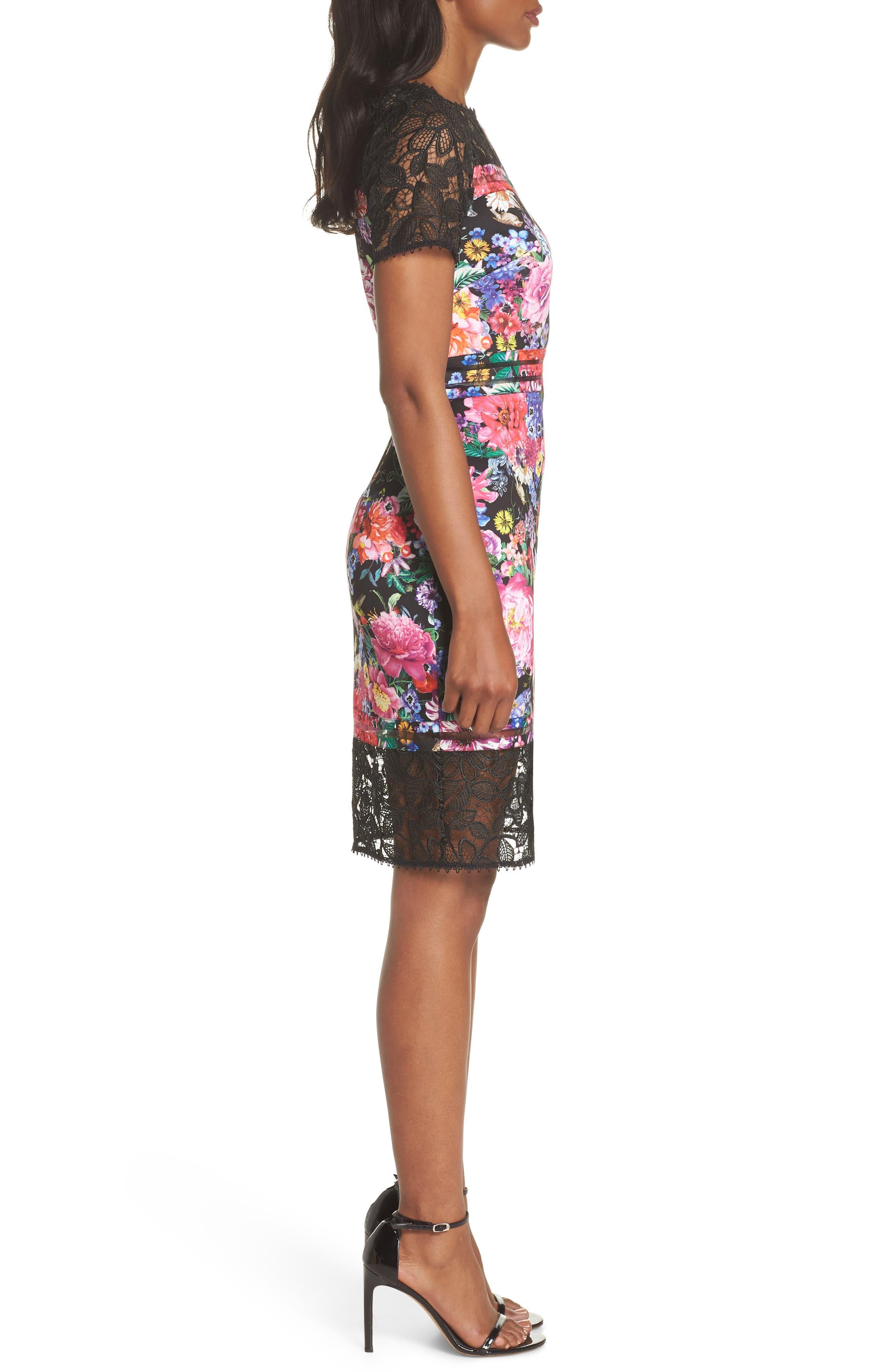 Floral & Lace Sheath Dress,                             Alternate thumbnail 3, color,                             Black/ Floral