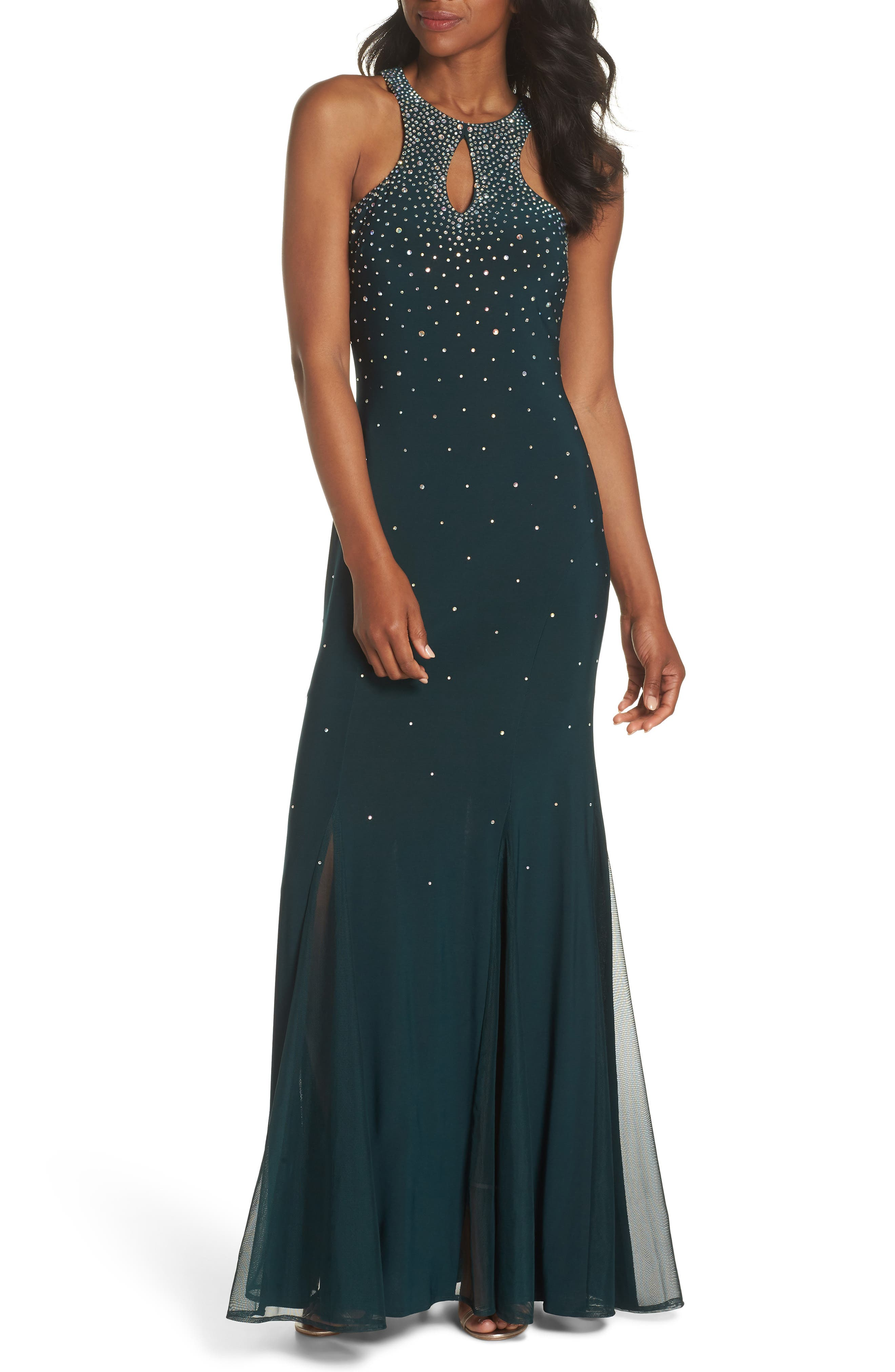 Embellished Keyhole Trumpet Gown,                             Main thumbnail 1, color,                             Dark Green