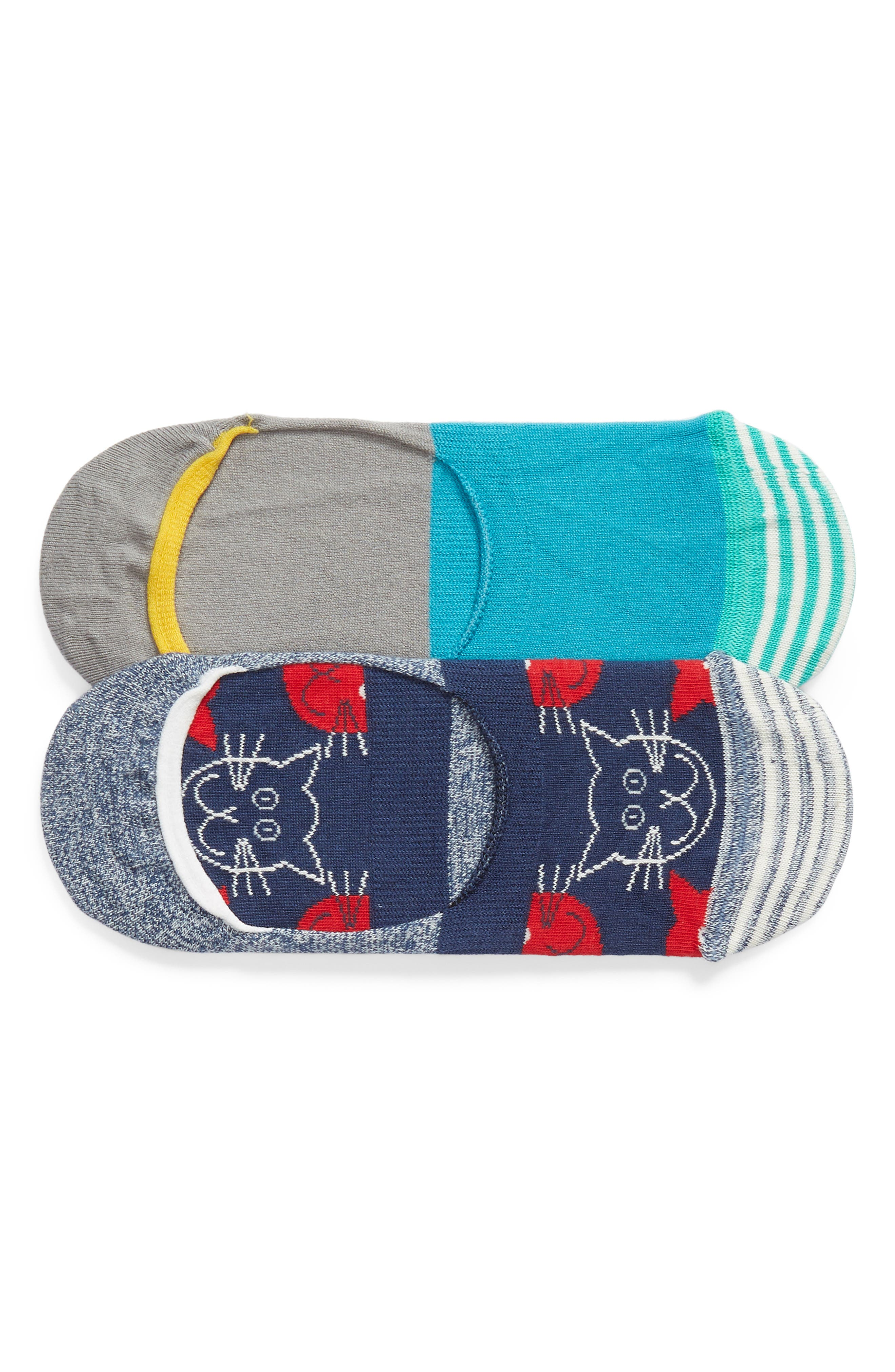 Cats Assorted 2-Pack No-Show Socks,                             Main thumbnail 1, color,                             Blue