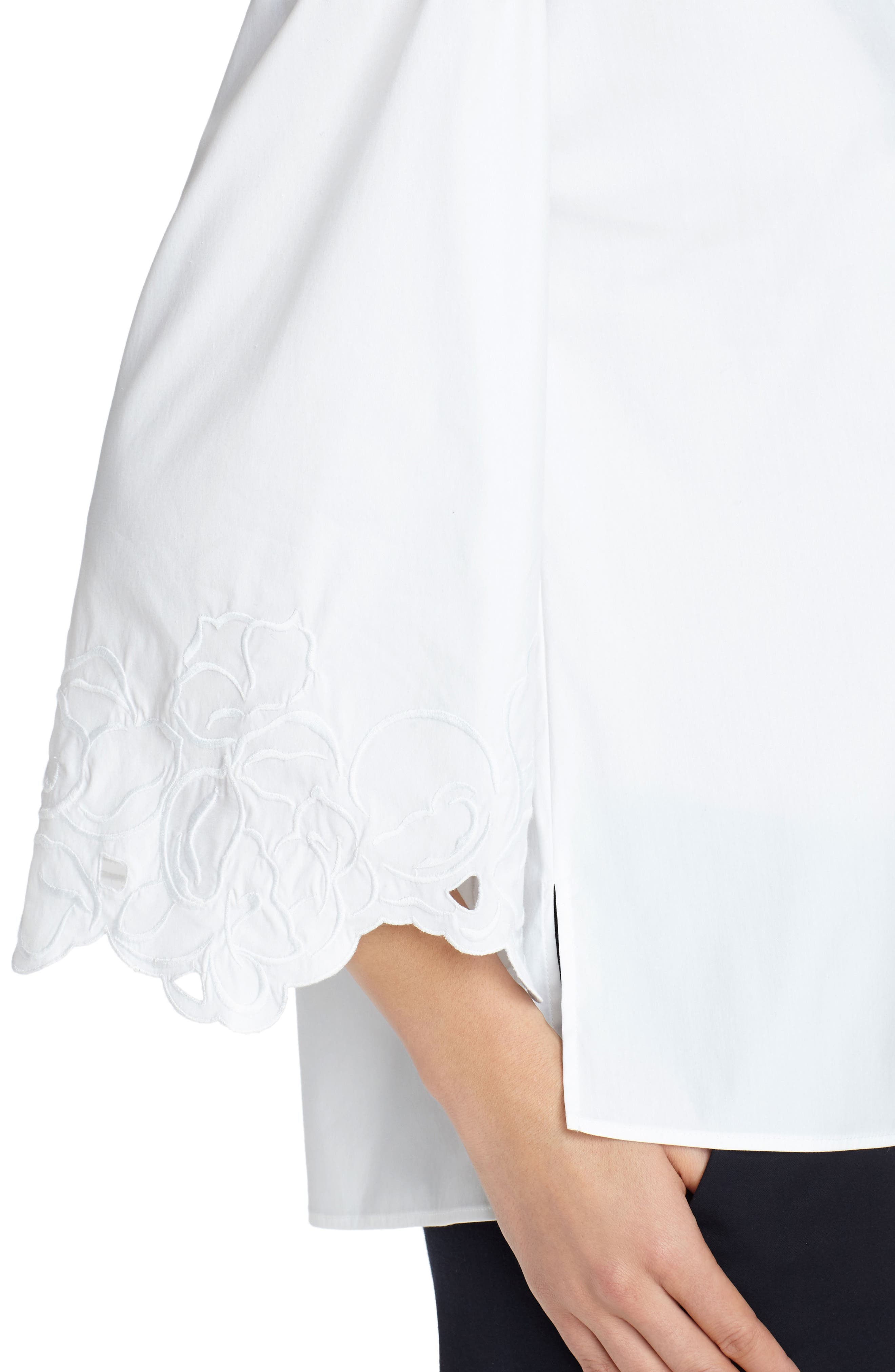 Carla Embroidered Blouse,                             Alternate thumbnail 4, color,                             White