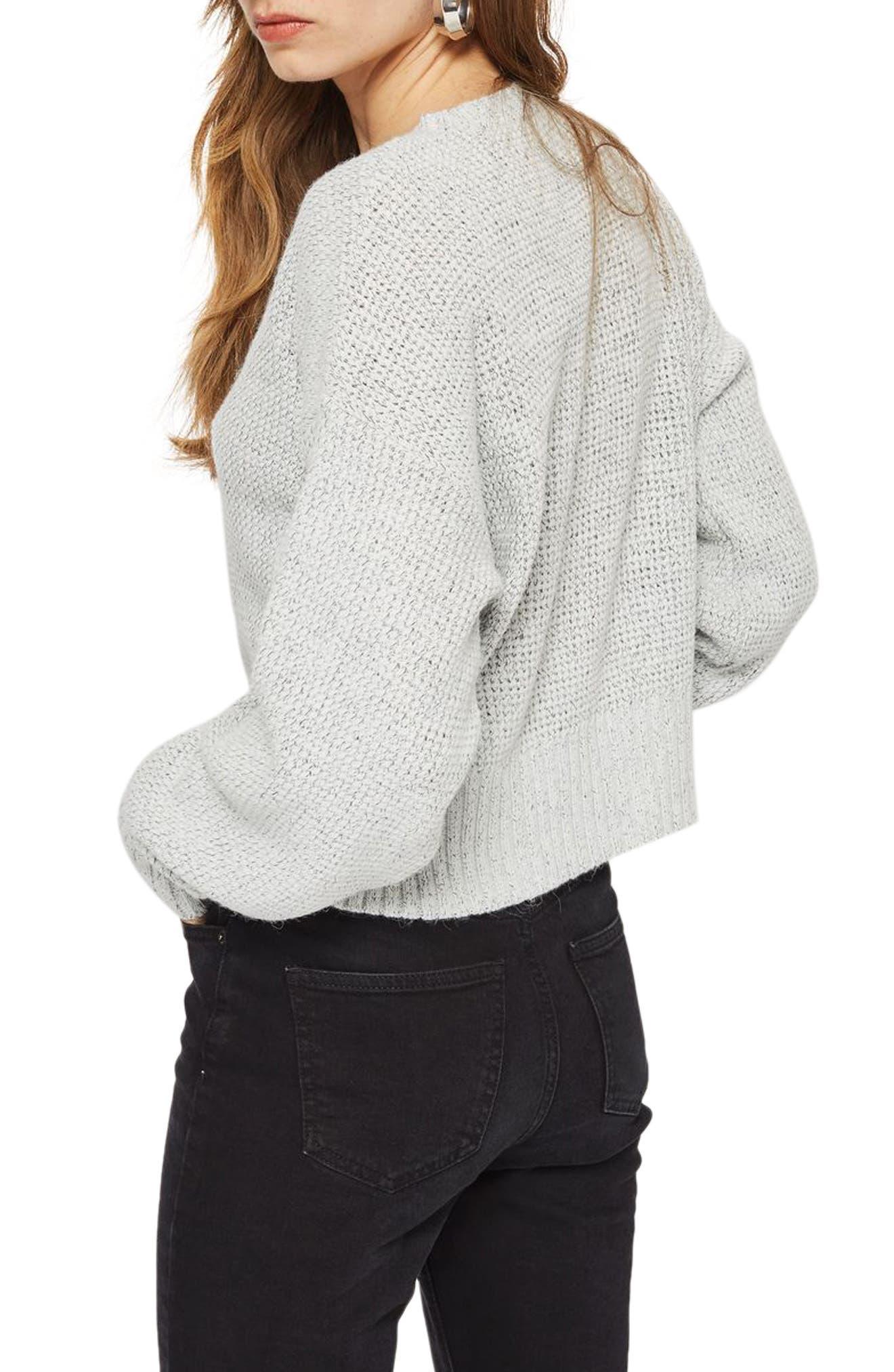 Petite Crop Sweater,                             Alternate thumbnail 2, color,                             Grey