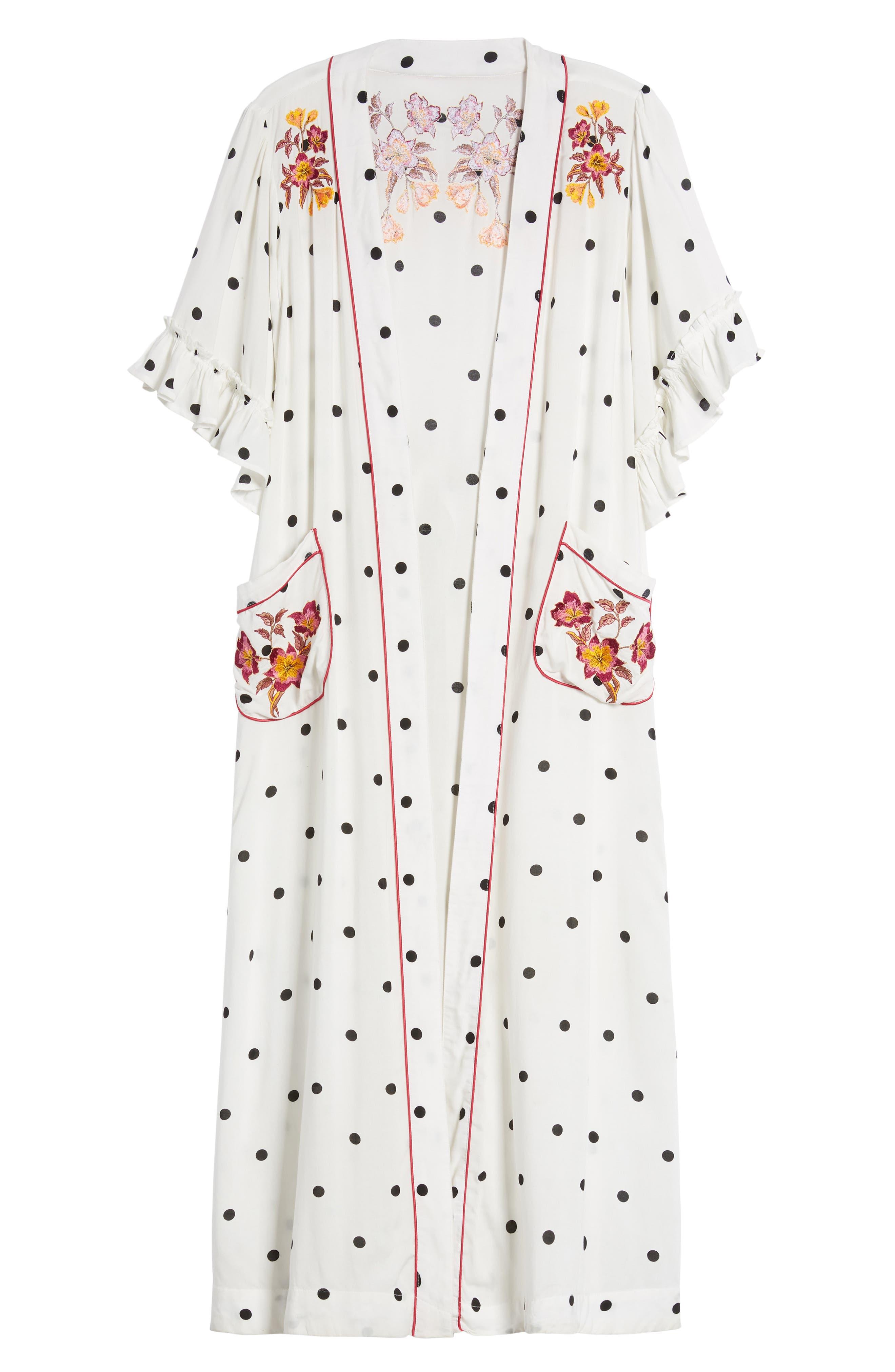 Hot Spot Kimono,                             Alternate thumbnail 6, color,                             Black/ White Polka Dot Print