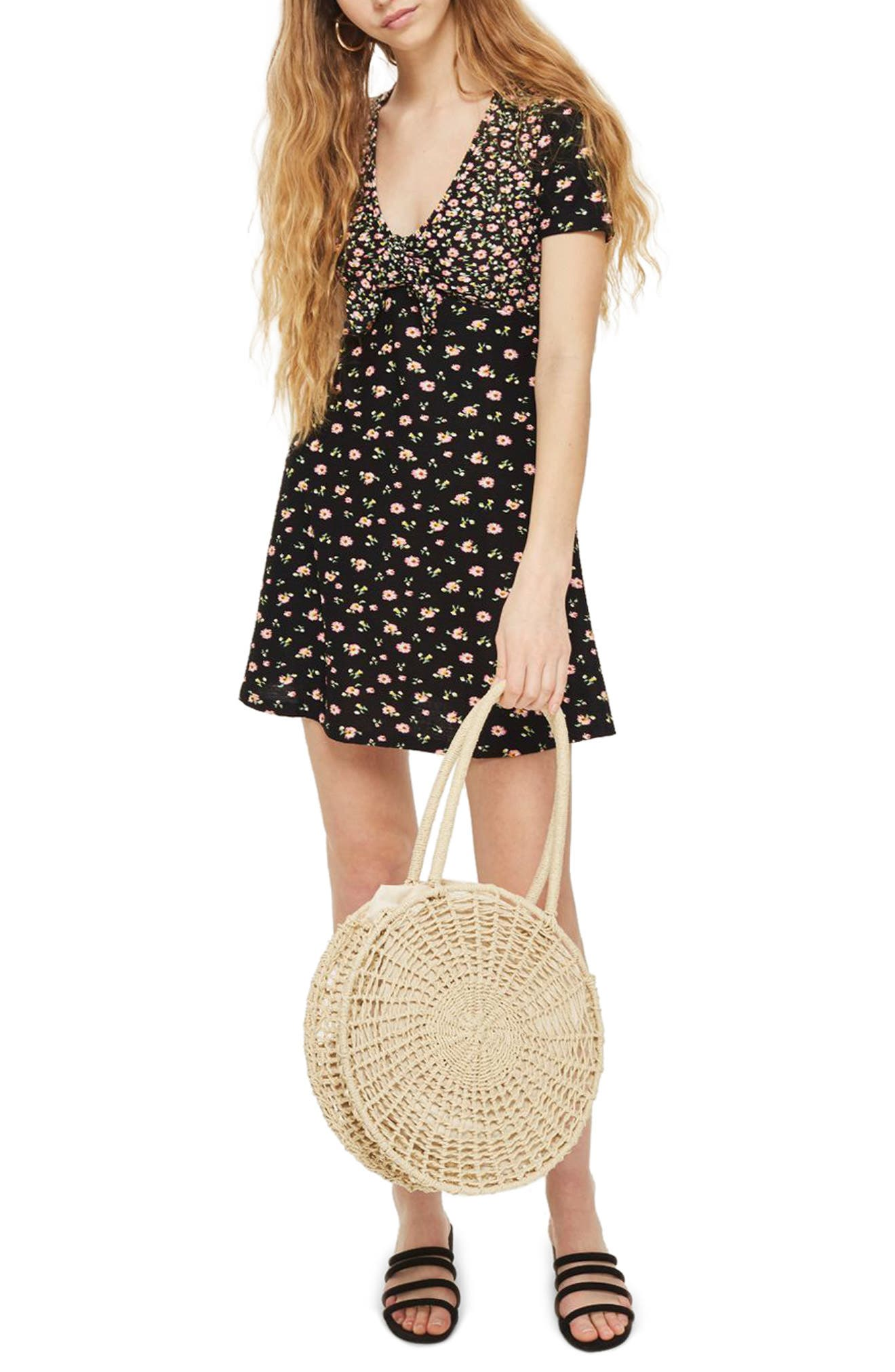 Mixed Floral Tea Dress,                         Main,                         color, Black