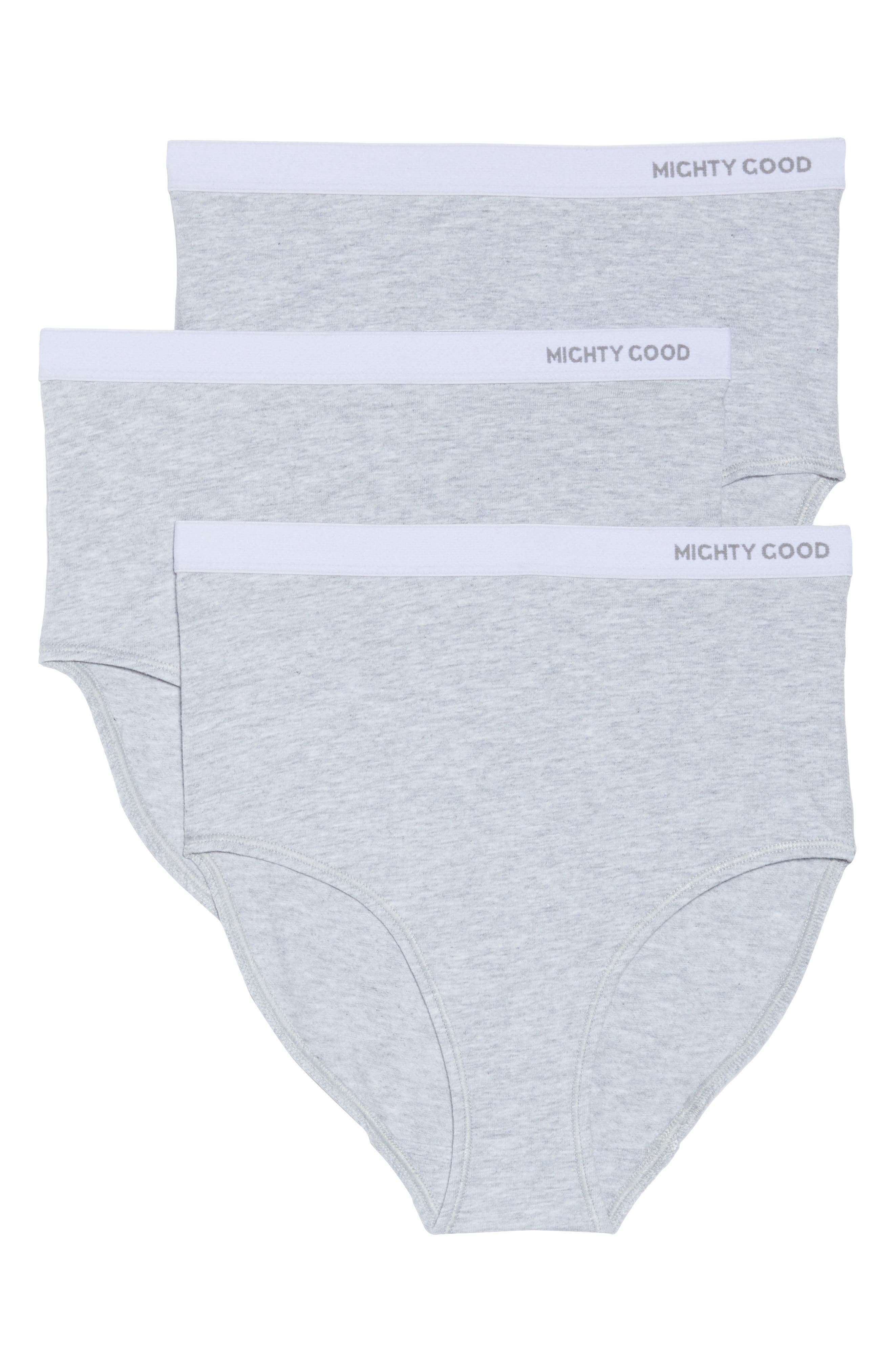 3-Pack Stretch Organic Cotton High Waist Briefs,                             Alternate thumbnail 2, color,                             Grey Marle