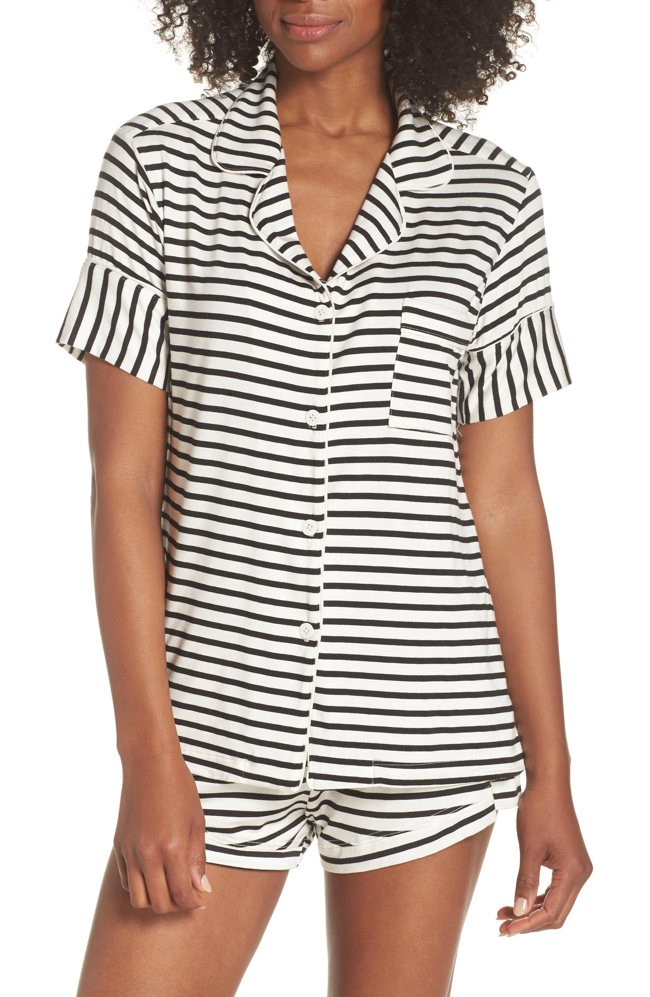 Monaco Short Pajamas,                         Main,                         color, Pearl Stripe
