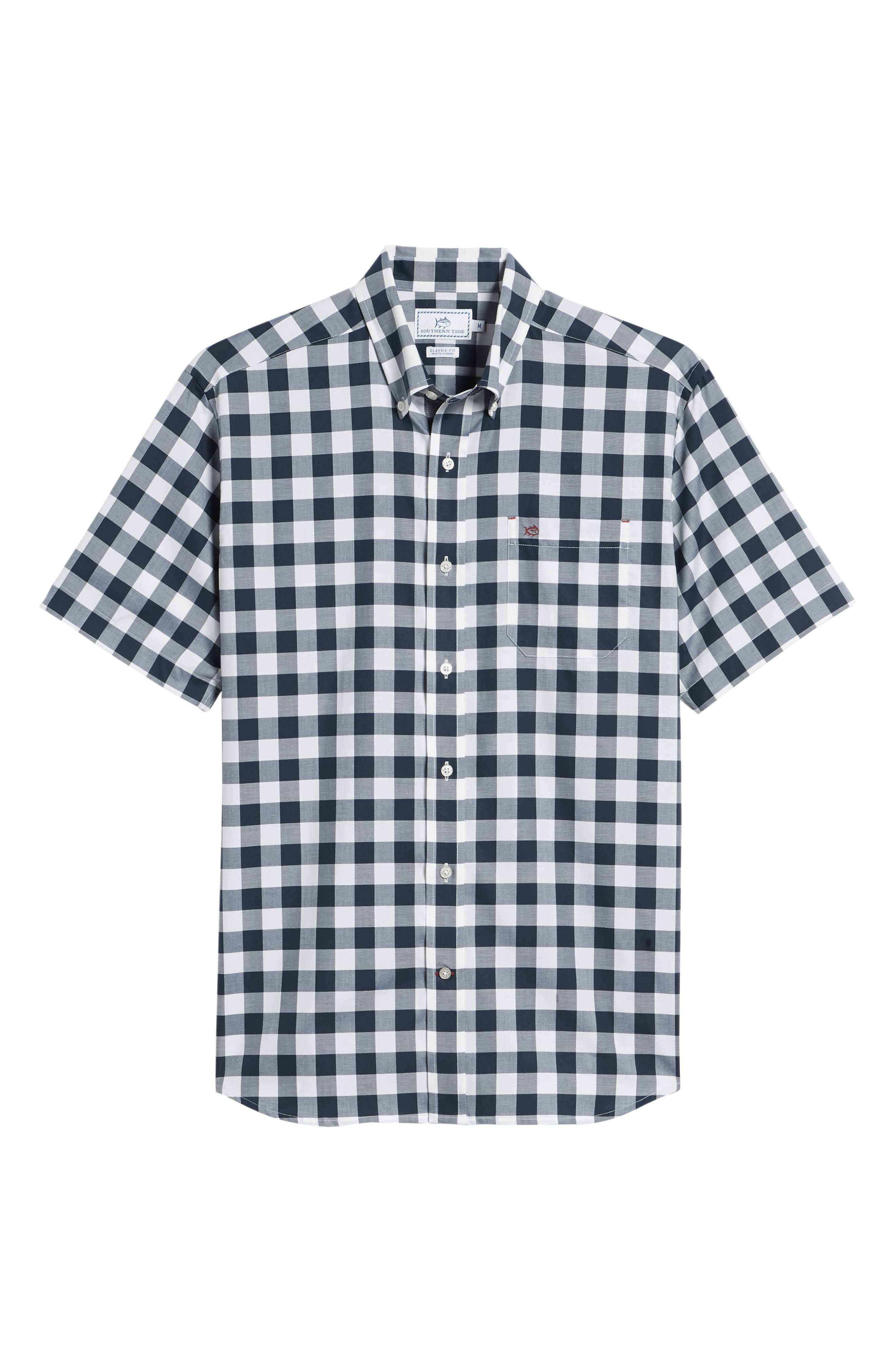 Regular Fit Buffalo Check Sport Shirt,                             Alternate thumbnail 6, color,                             Yacht Blue
