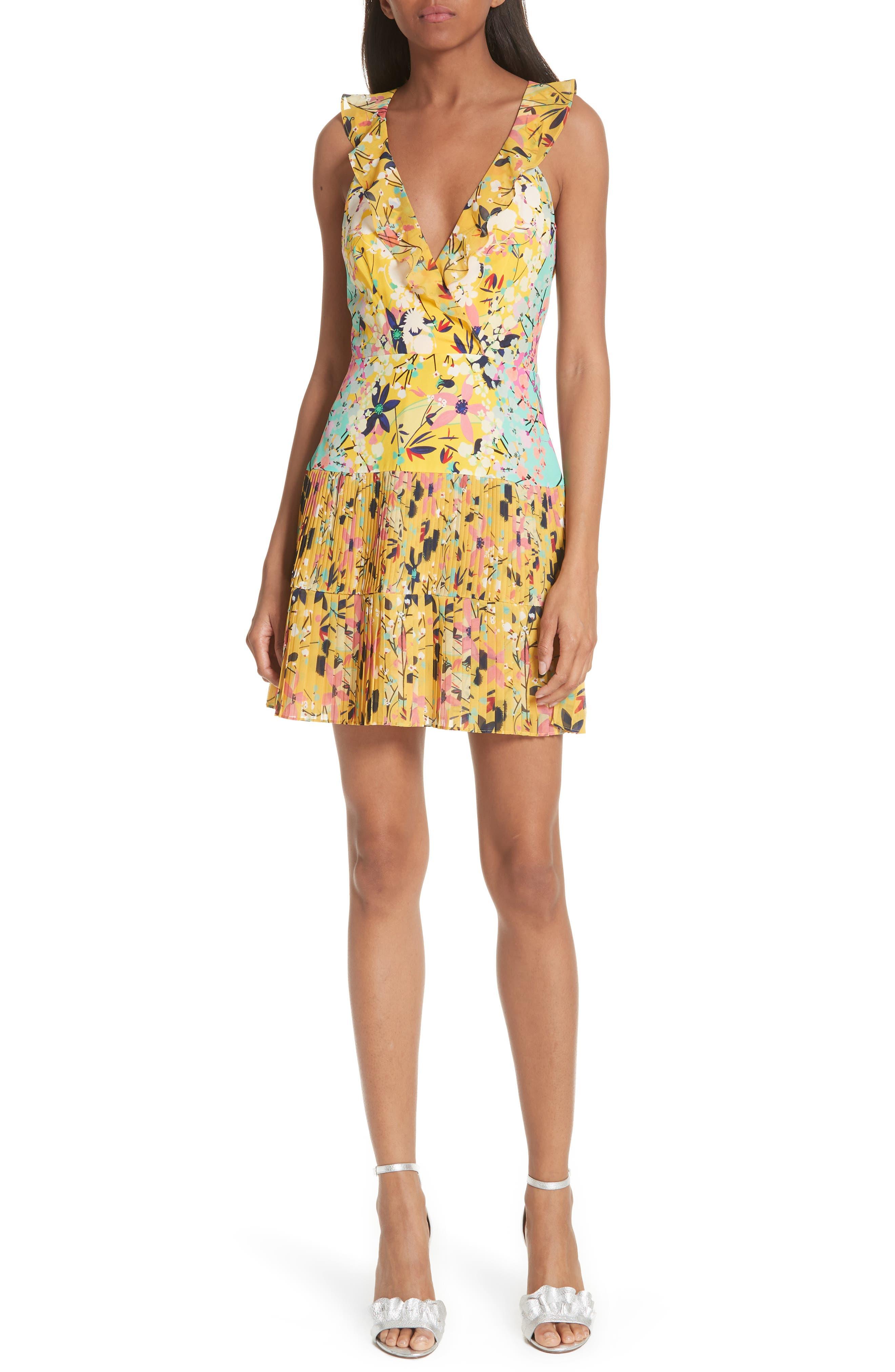 Amy Fit & Flare Dress,                         Main,                         color, Lemon Garden