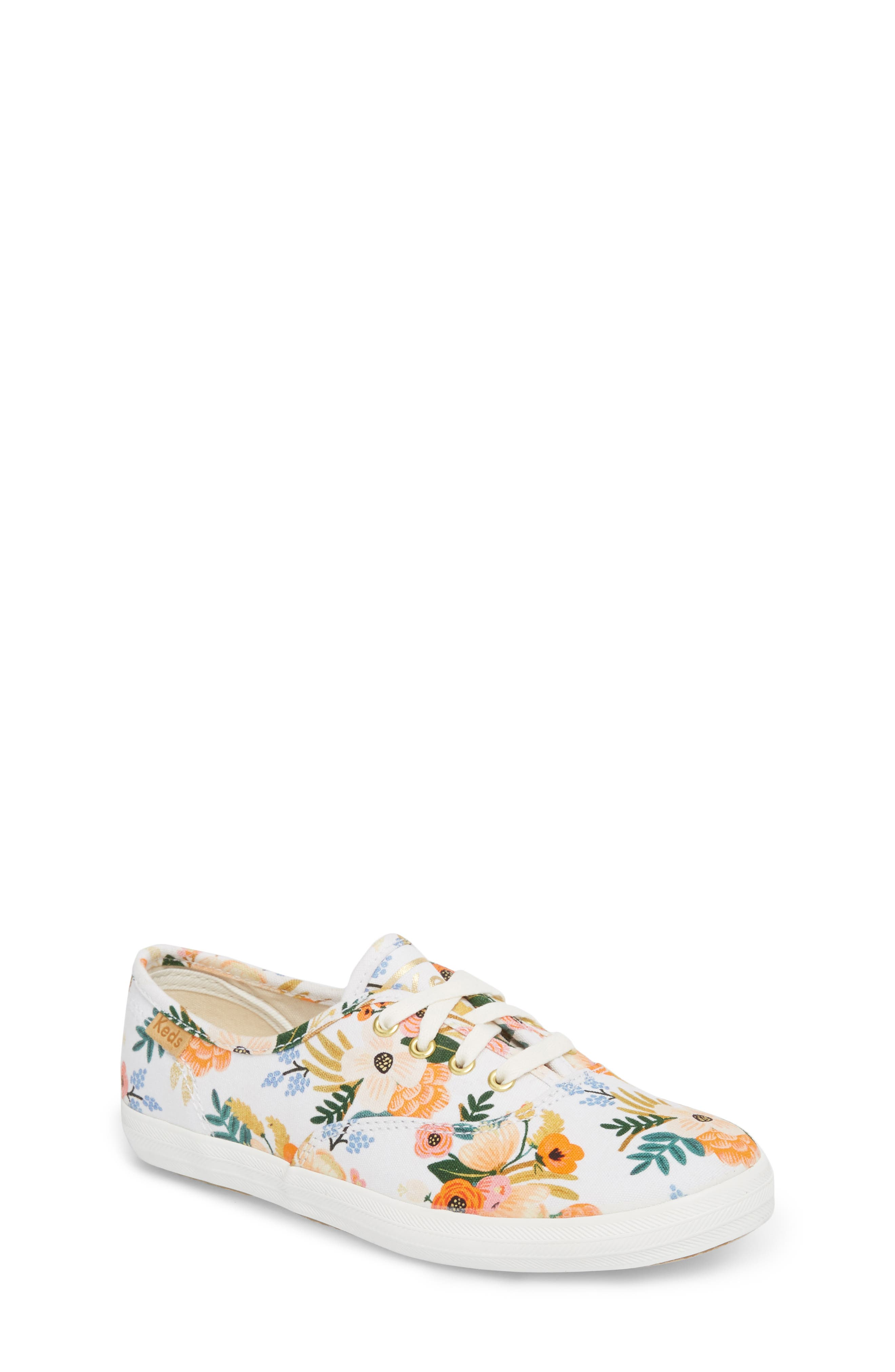 x Rifle Paper Co. Floral Print Champion Sneaker,                         Main,                         color, Lively White
