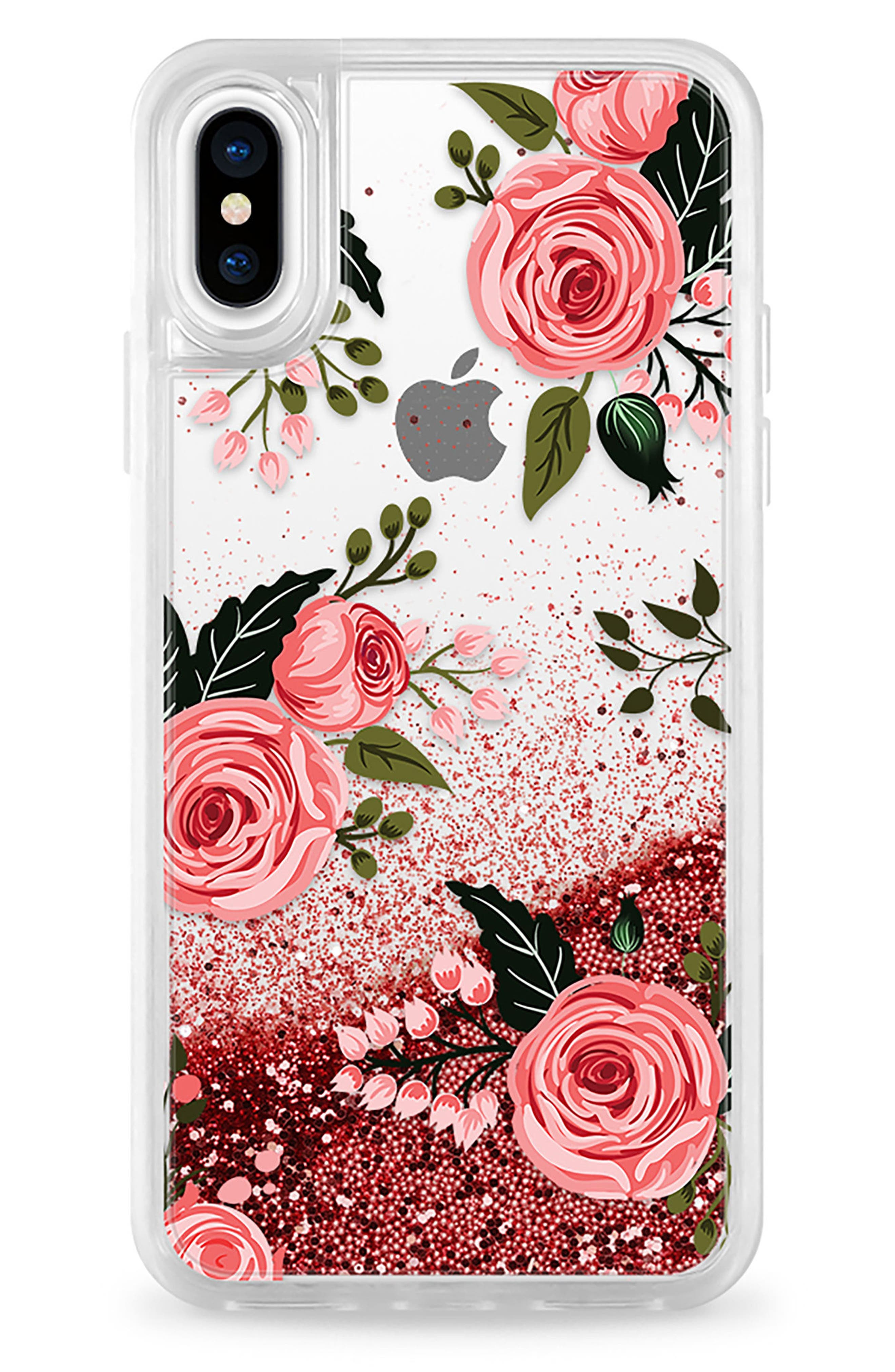 Pink Glitter Flowers iPhone X Case,                             Main thumbnail 1, color,                             Pink