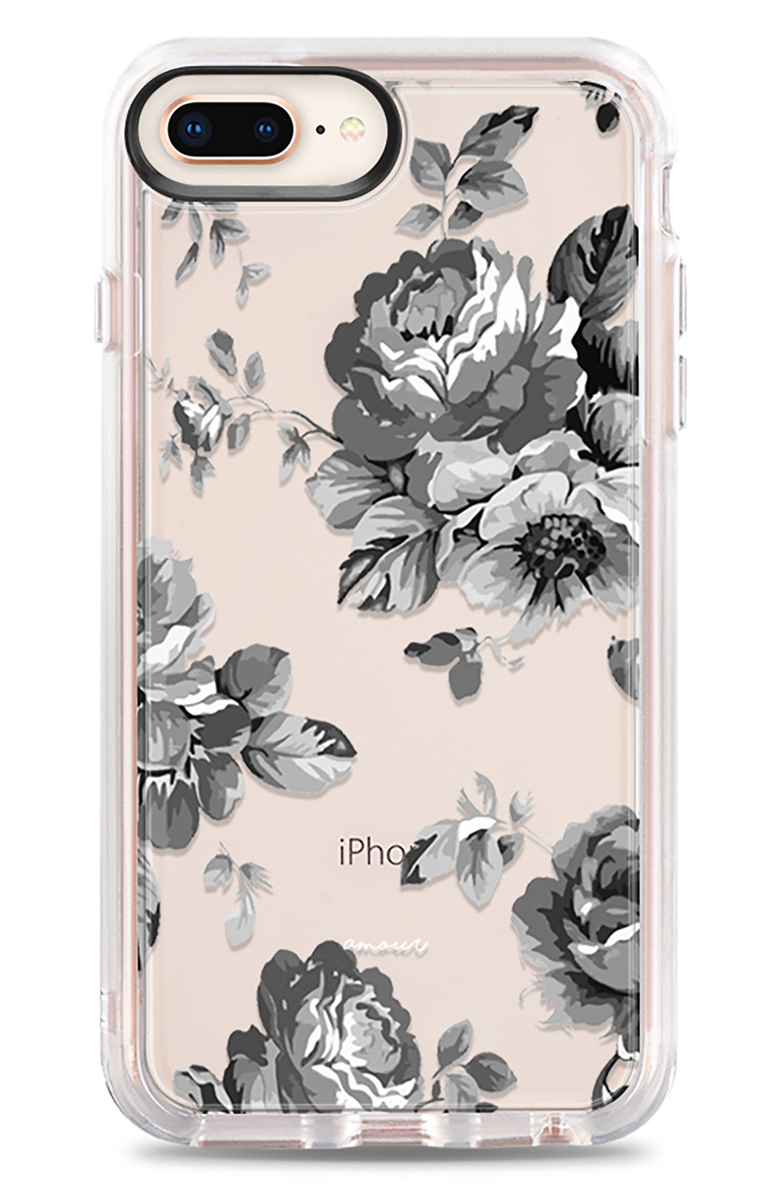 Black Floral iPhone 7/8 & 7/8 Plus Case,                         Main,                         color, Grey
