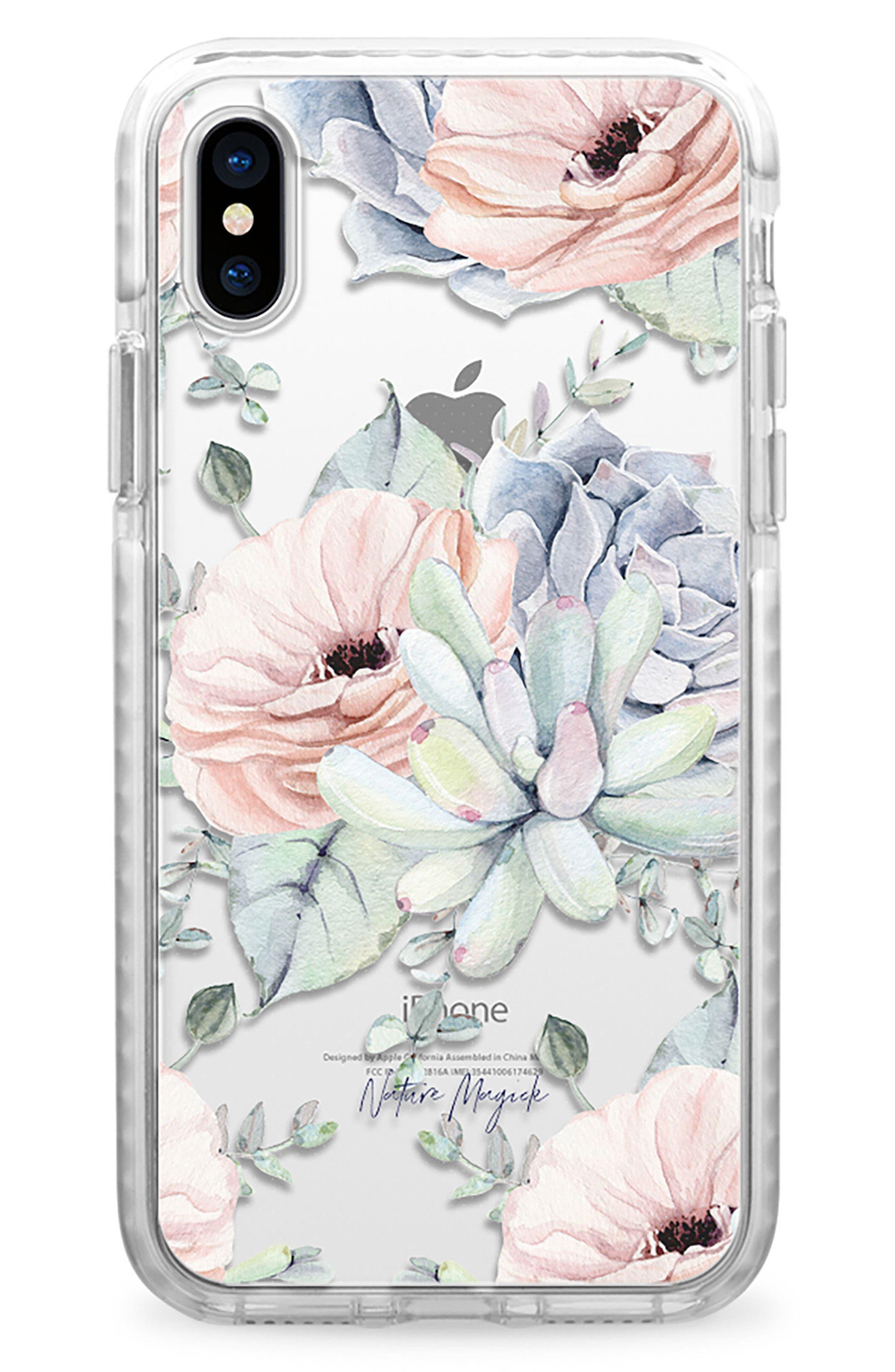 Pretty Succulents iPhone X Case,                         Main,                         color, Clear Multi