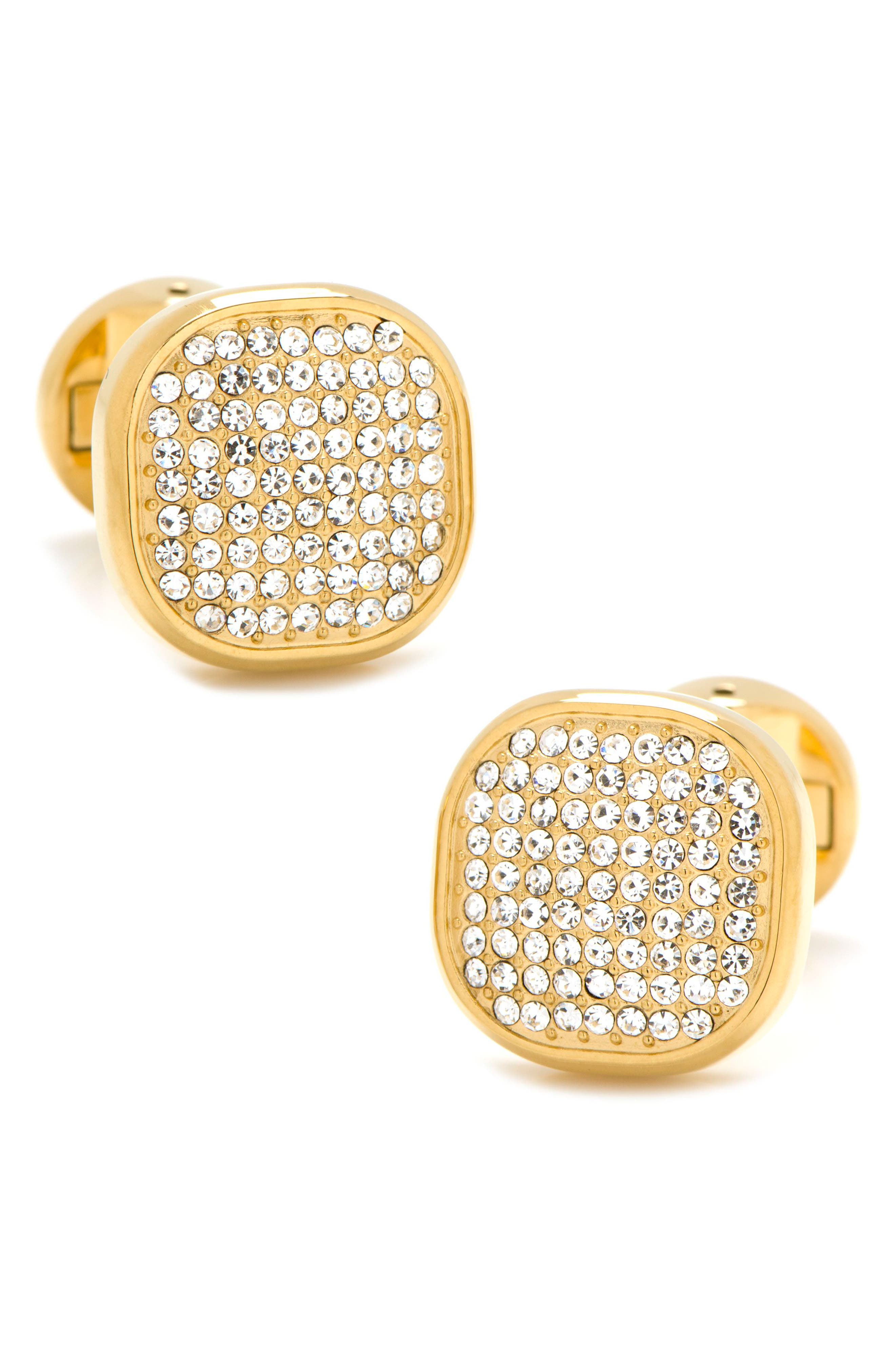 Pavé Goldtone Cuff Links,                         Main,                         color, Gold/ White