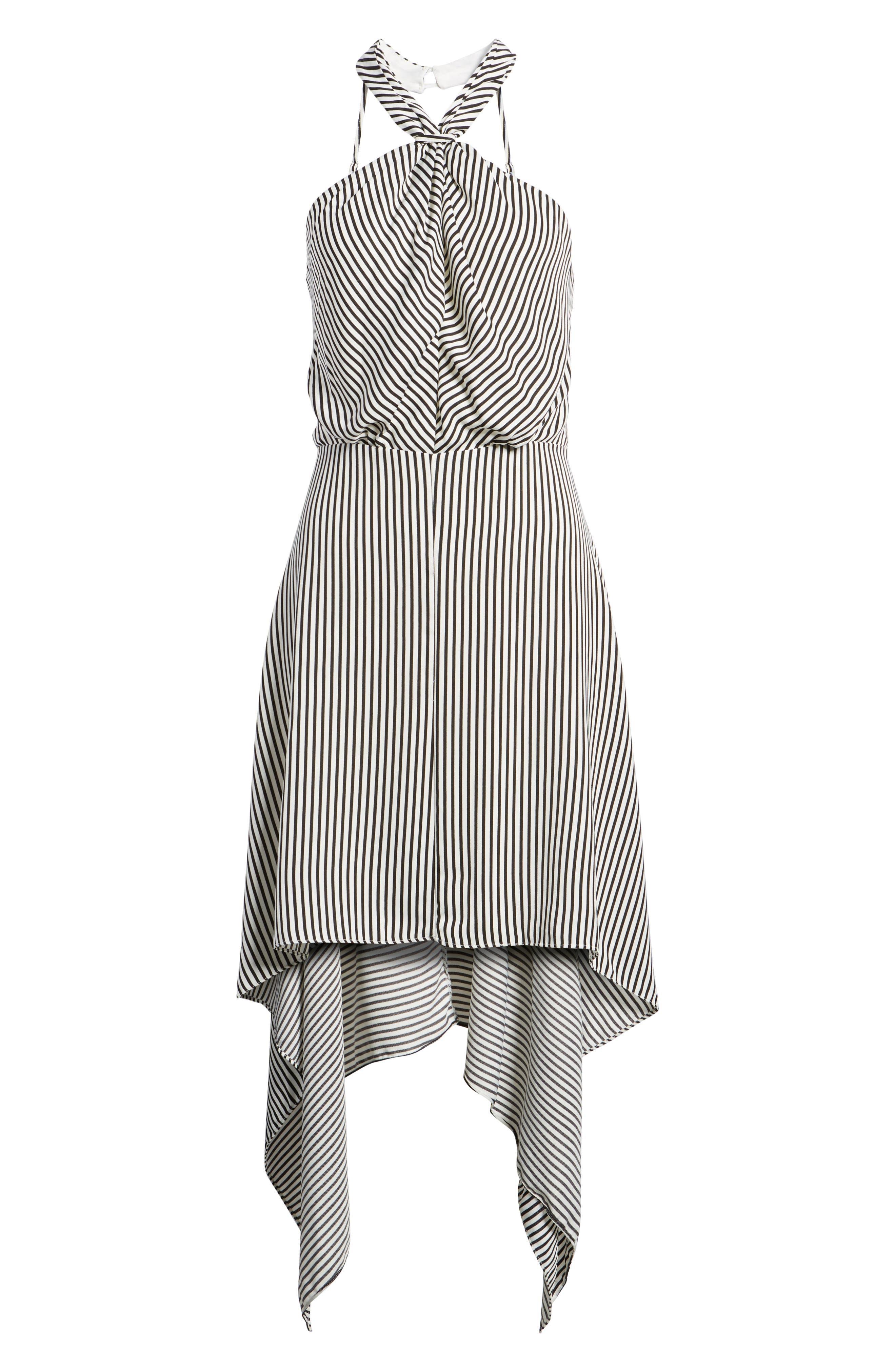 Bishop + Young Ana Stripe Shark Bite Hem Halter Dress,                             Alternate thumbnail 7, color,                             Black Stripe