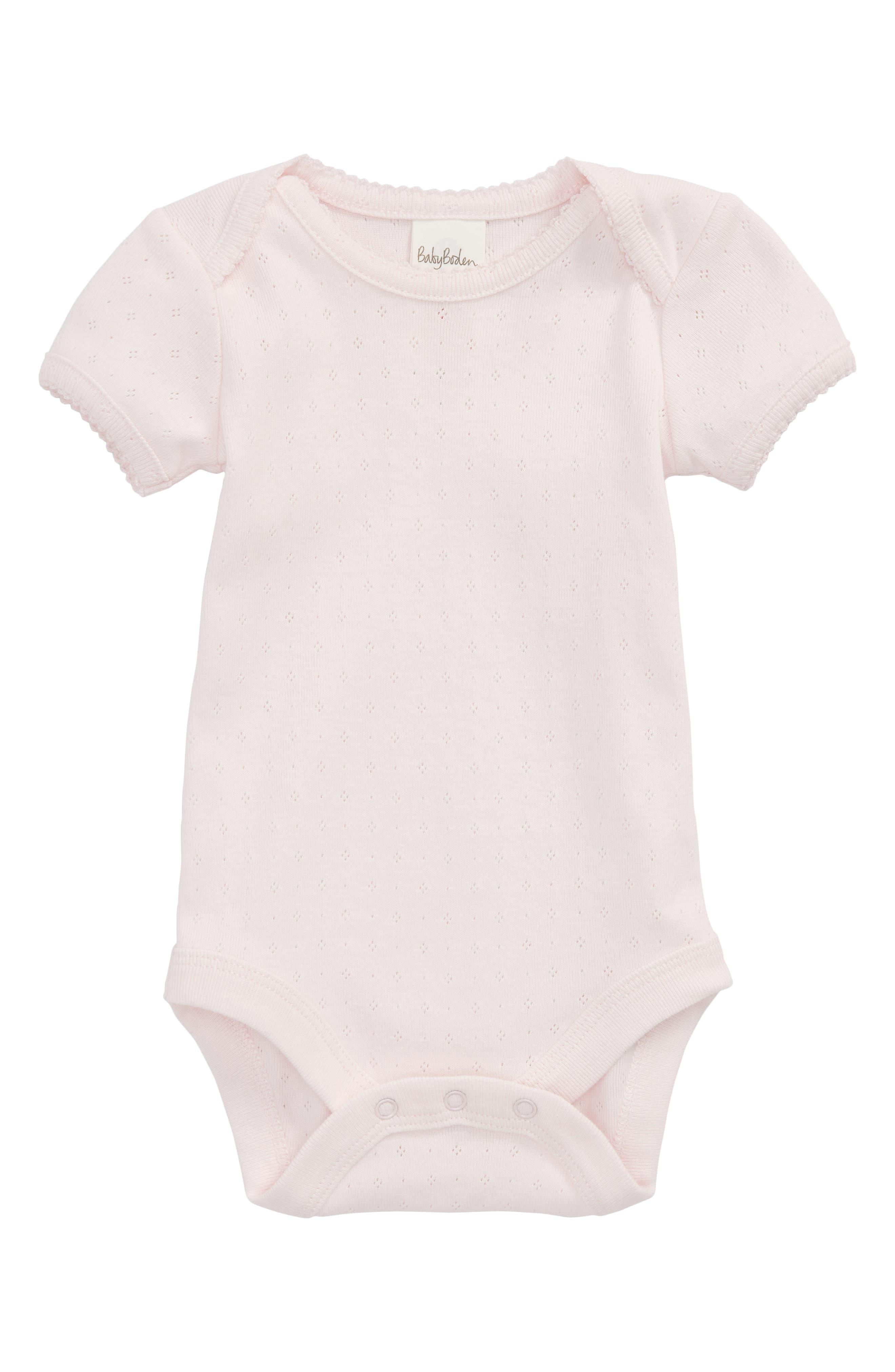 Mini Boden Summer Pointelle Bodysuit (Baby Girls)
