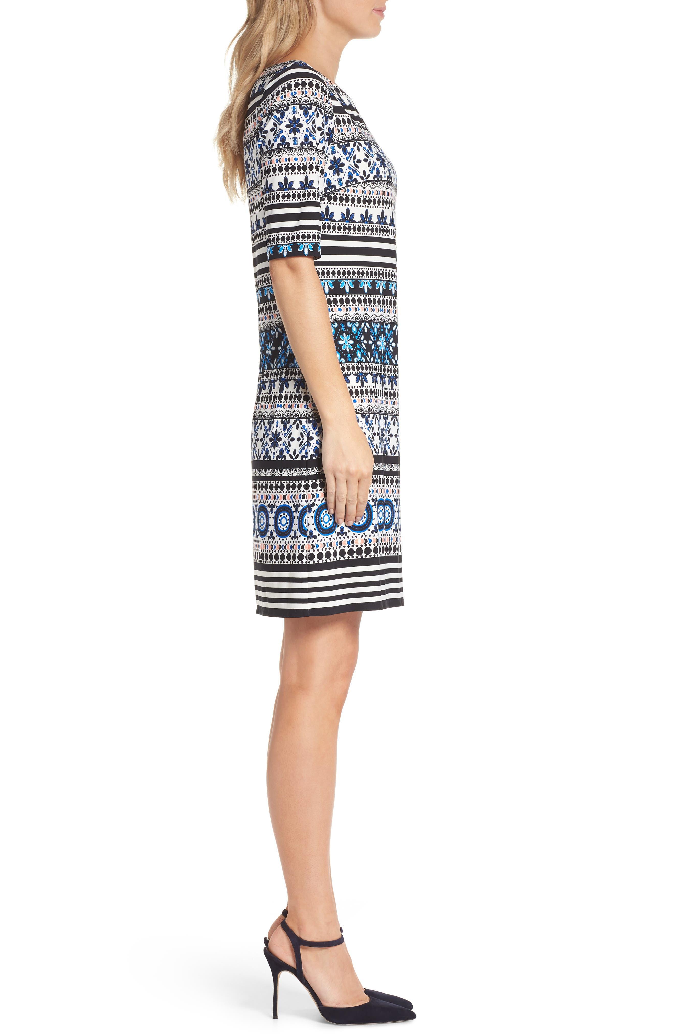 Medallion Stripe Shift Dress,                             Alternate thumbnail 3, color,                             Black/ Blue/ Ivory