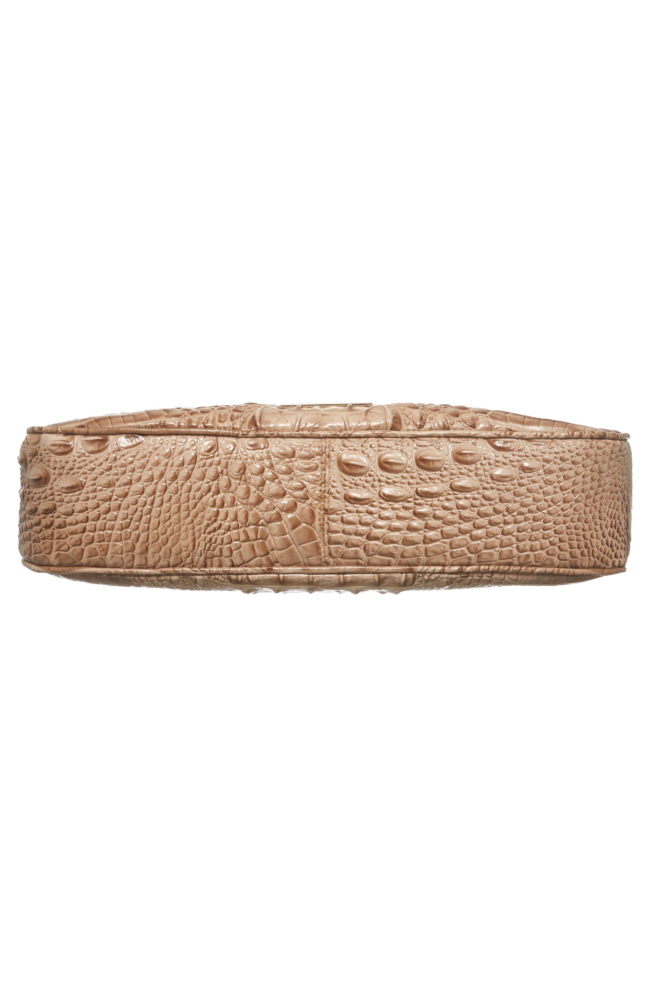 Nadia Croc Embossed Leather Shoulder Bag,                             Alternate thumbnail 6, color,                             Morel