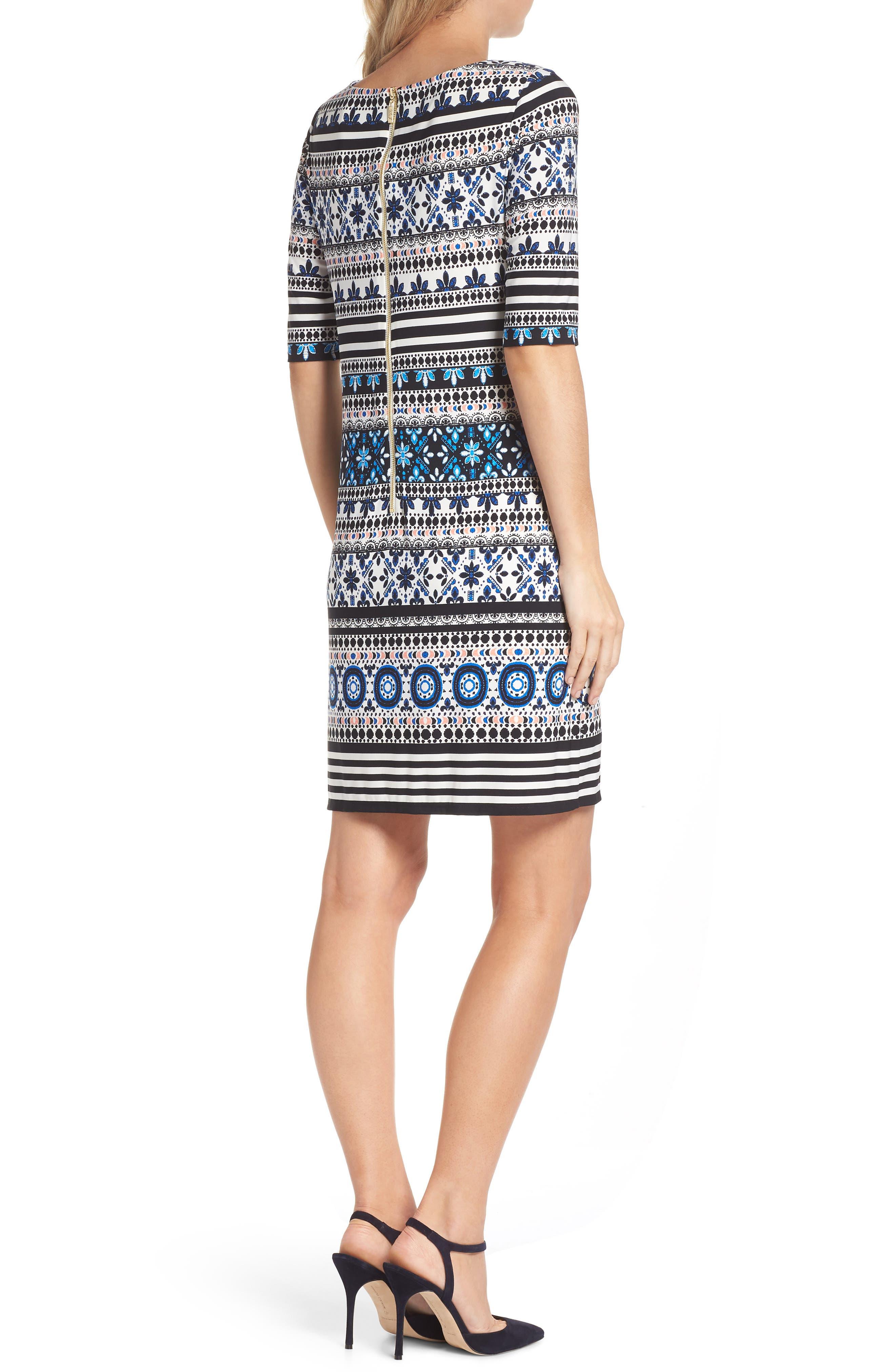 Medallion Stripe Shift Dress,                             Alternate thumbnail 2, color,                             Black/ Blue/ Ivory