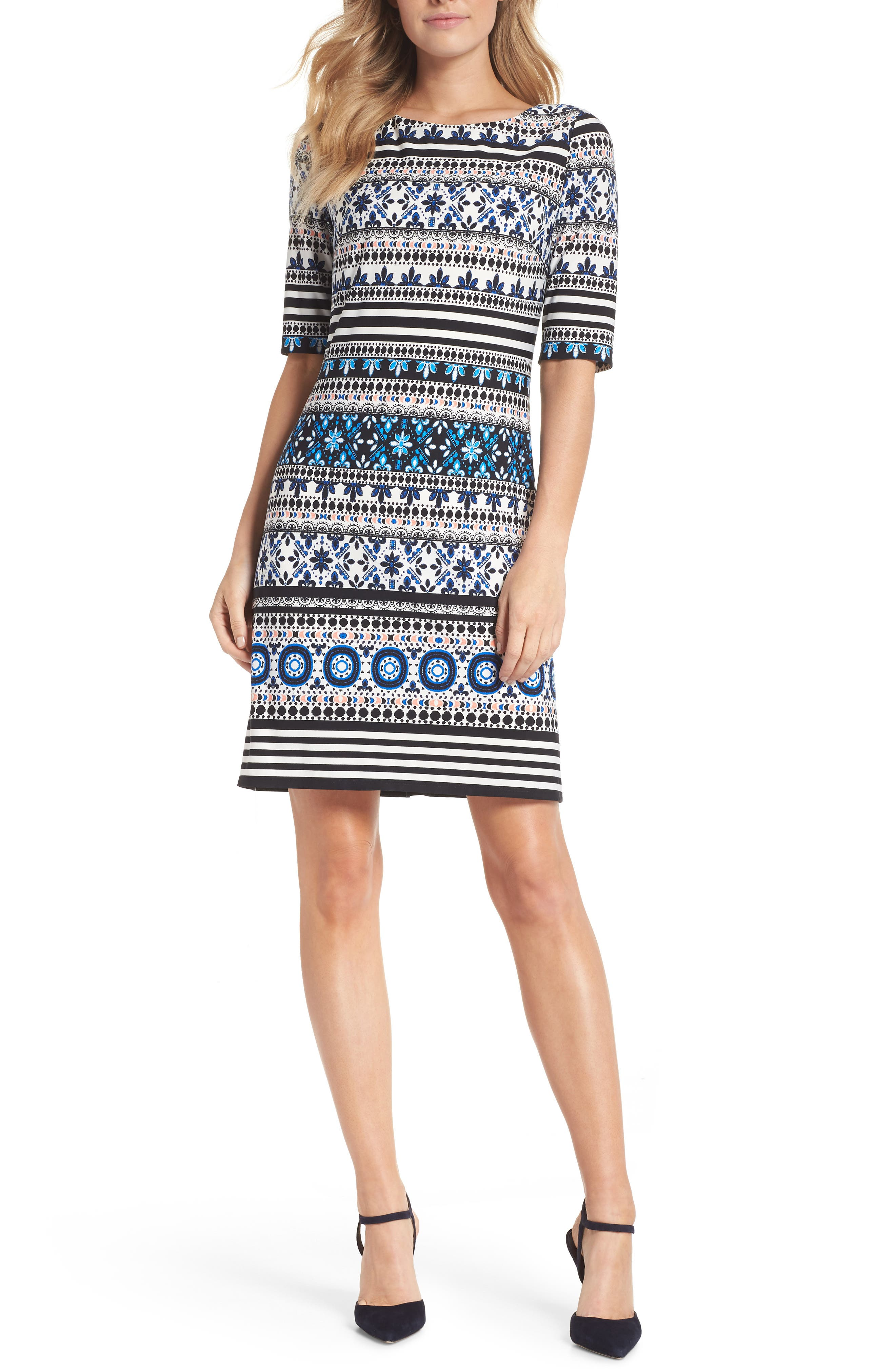 Medallion Stripe Shift Dress,                             Main thumbnail 1, color,                             Black/ Blue/ Ivory