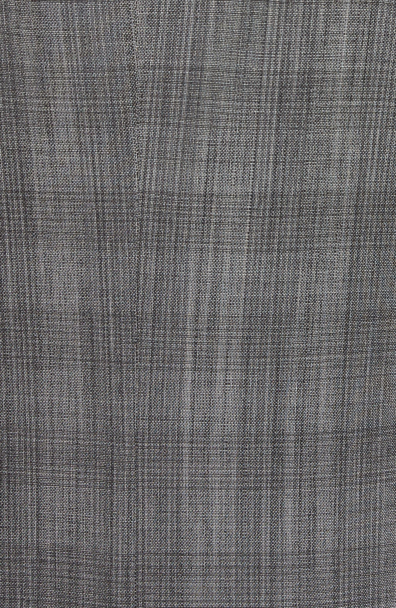 Classic Fit Plaid Wool & Silk Suit,                             Alternate thumbnail 7, color,                             Dark Grey Check