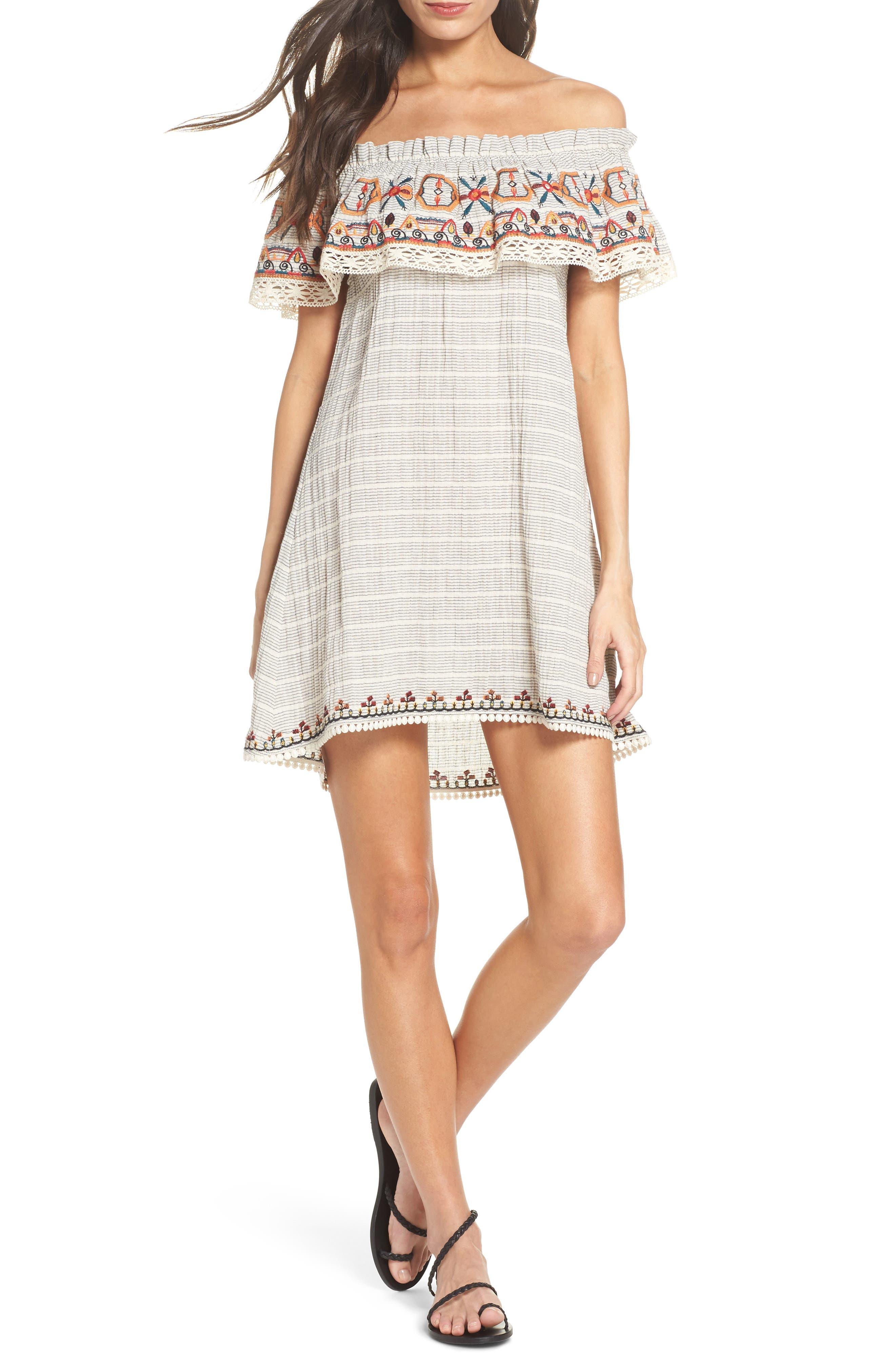 Embroidered Off the Shoulder Dress,                         Main,                         color, Ivory
