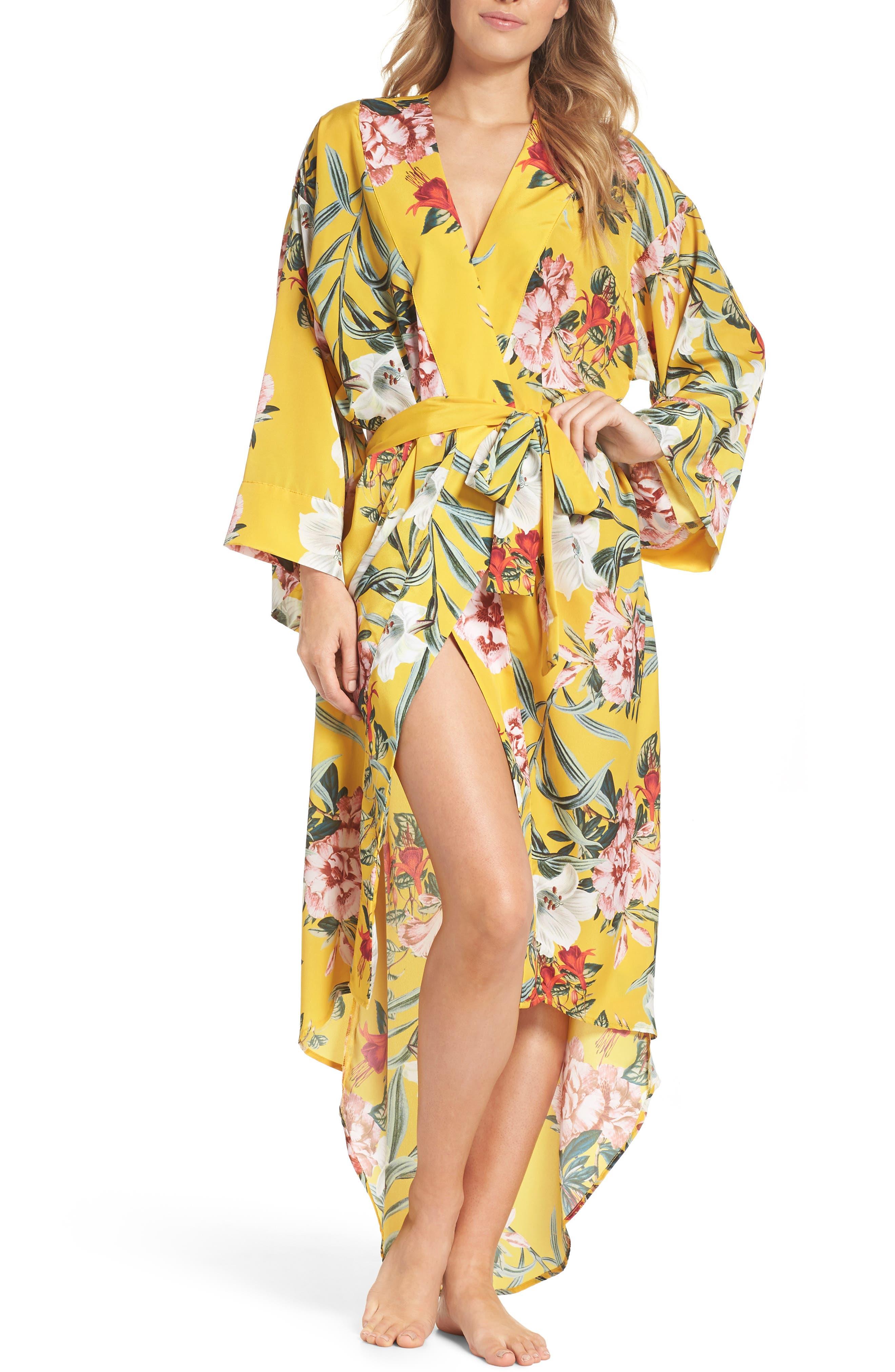 Isabella High/Low Robe,                             Main thumbnail 1, color,                             Marigold Floral