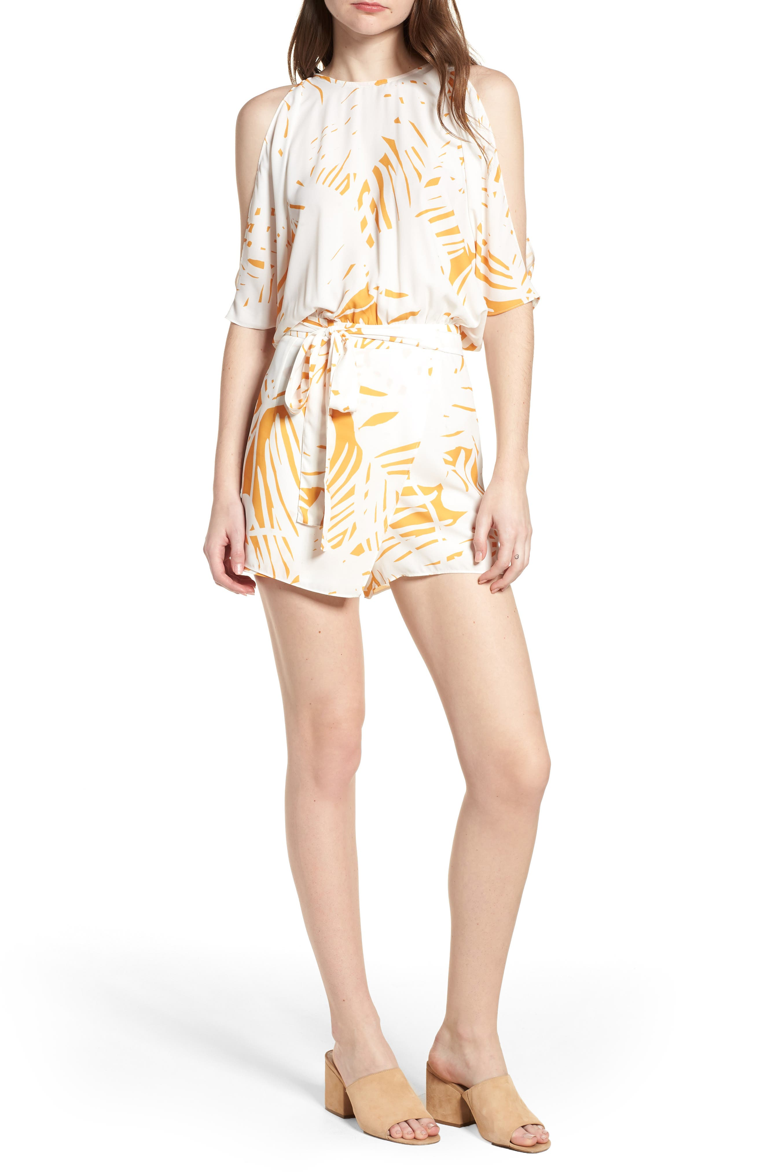Bishop + Young Jet Set Cold Shoulder Romper,                             Main thumbnail 1, color,                             Riviera Print