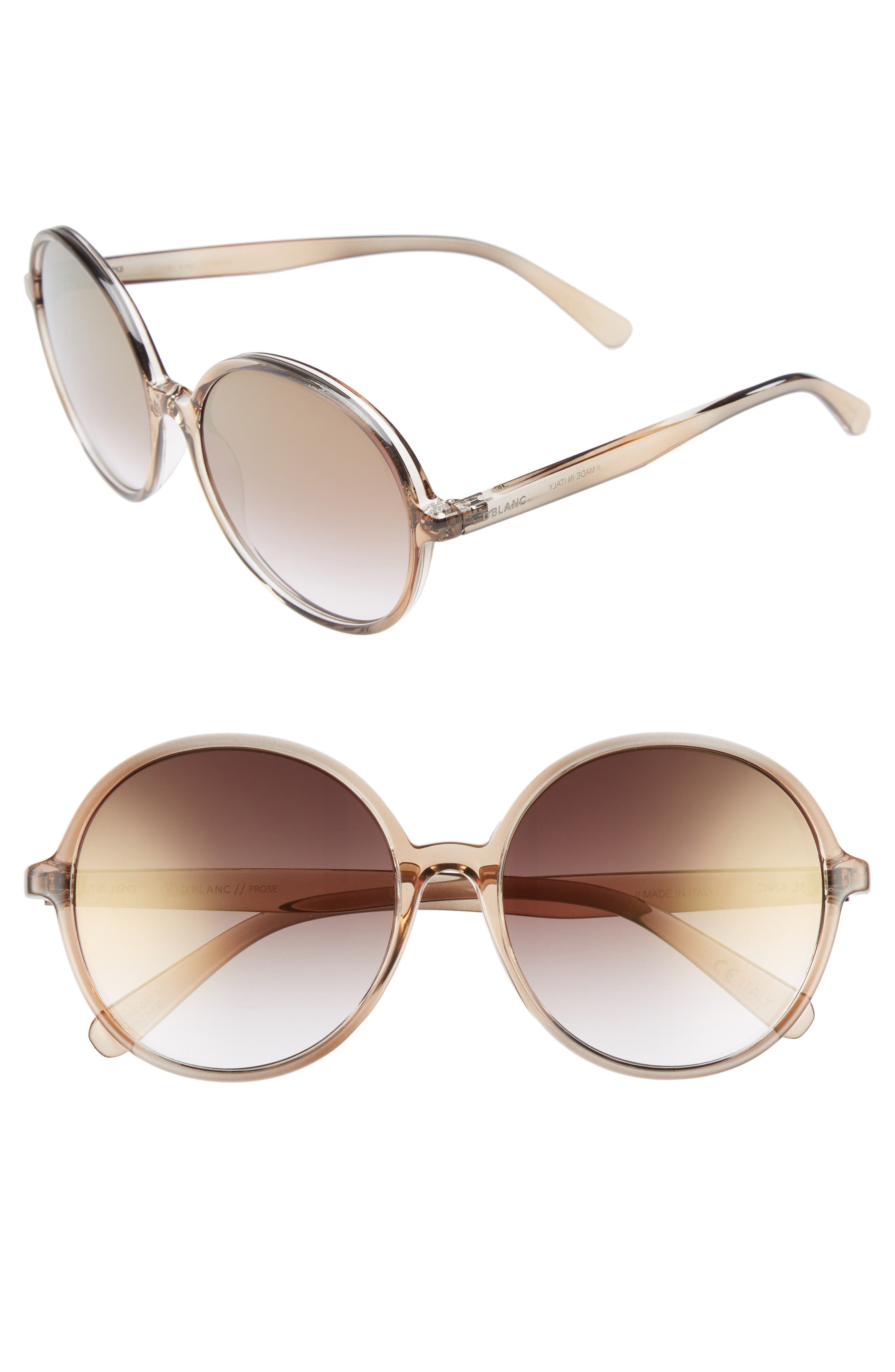 D'BLANC Prose 59mm Round Sunglasses,                         Main,                         color, Brown Ombre