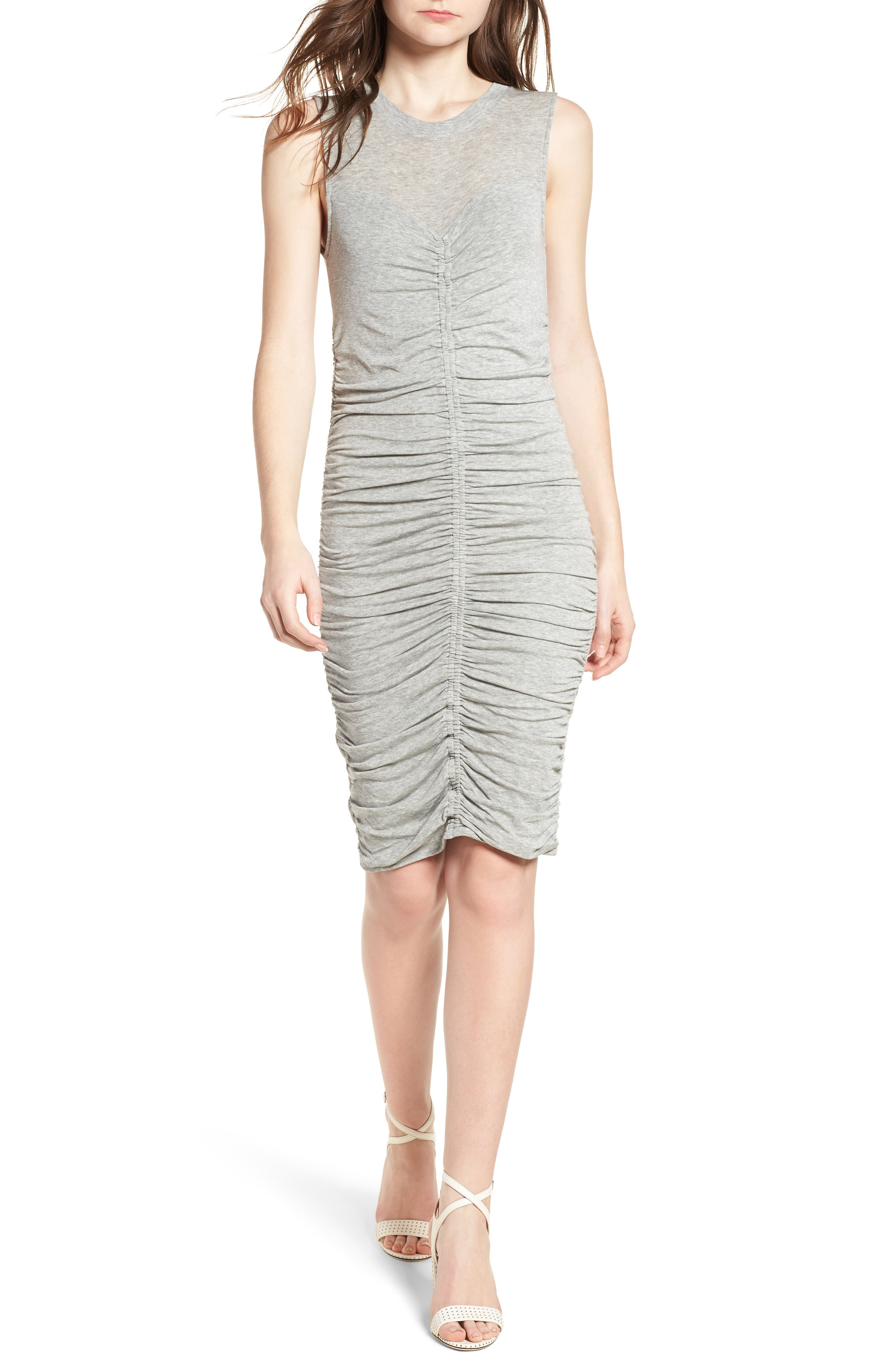 Shirred Dress,                         Main,                         color, Grey Heather