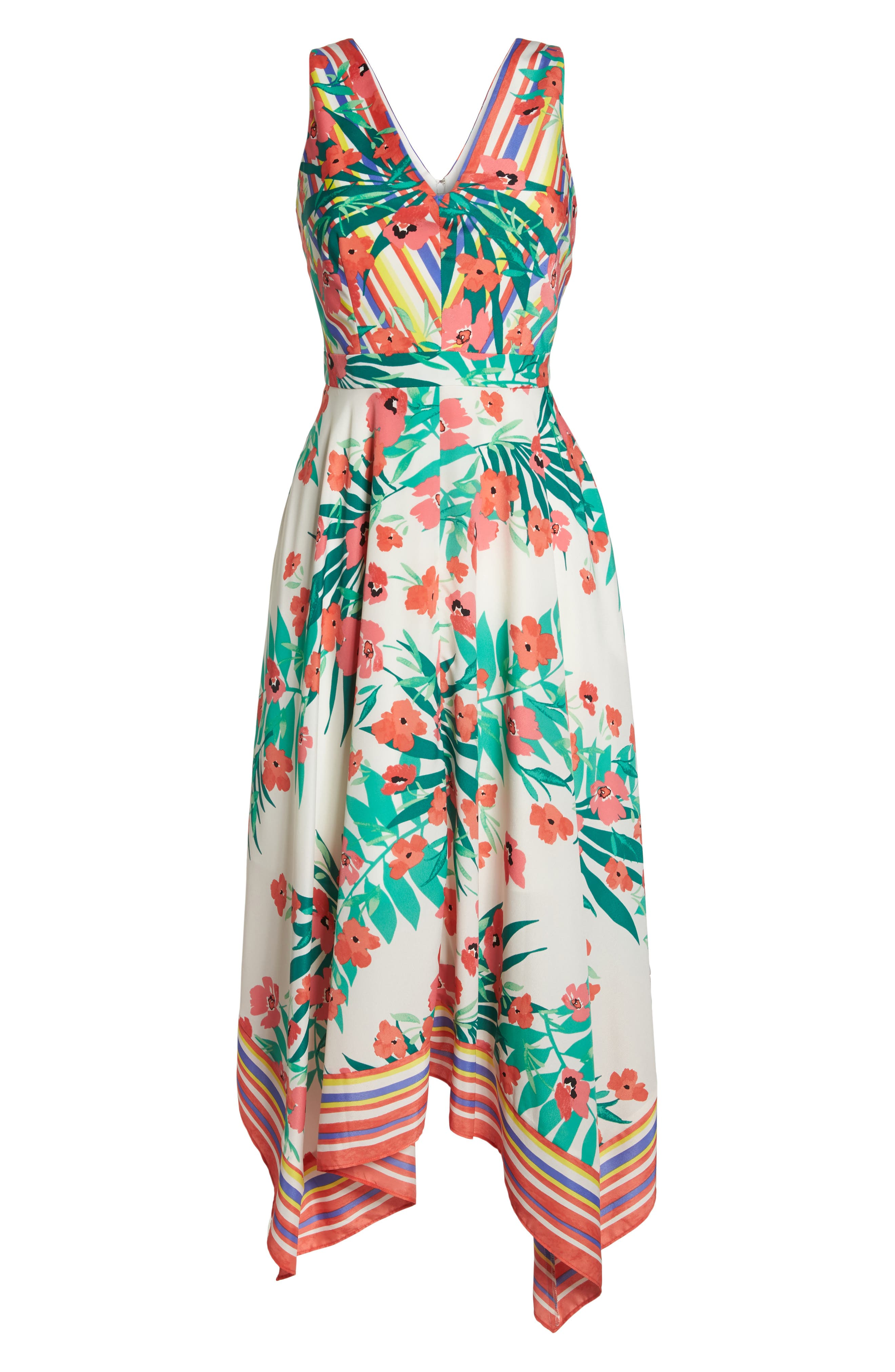 Print Handkerchief Hem Dress,                             Alternate thumbnail 7, color,                             Ivory Multi