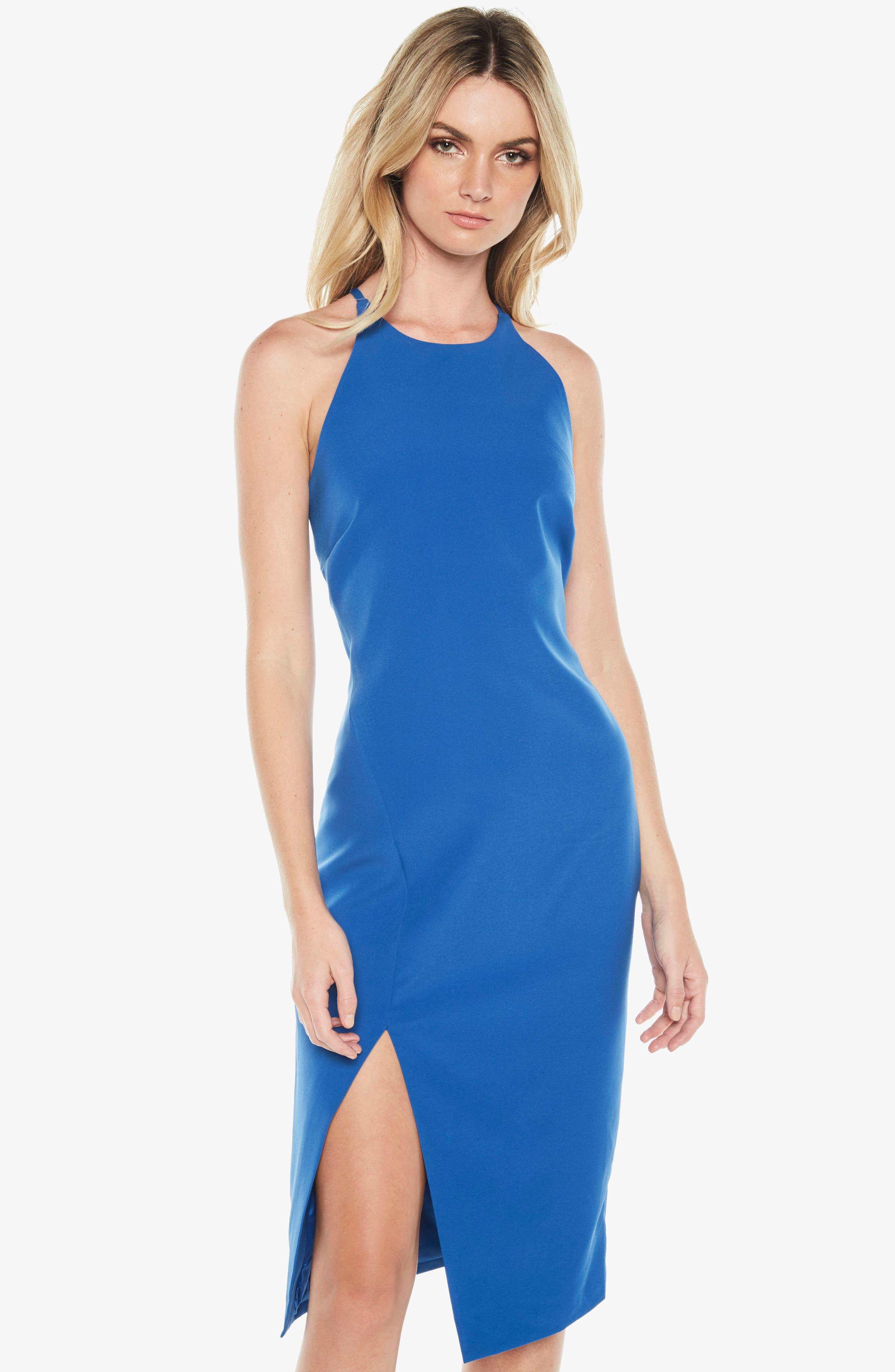 Vera Open Back Halter Dress,                             Alternate thumbnail 2, color,                             Sea Blue