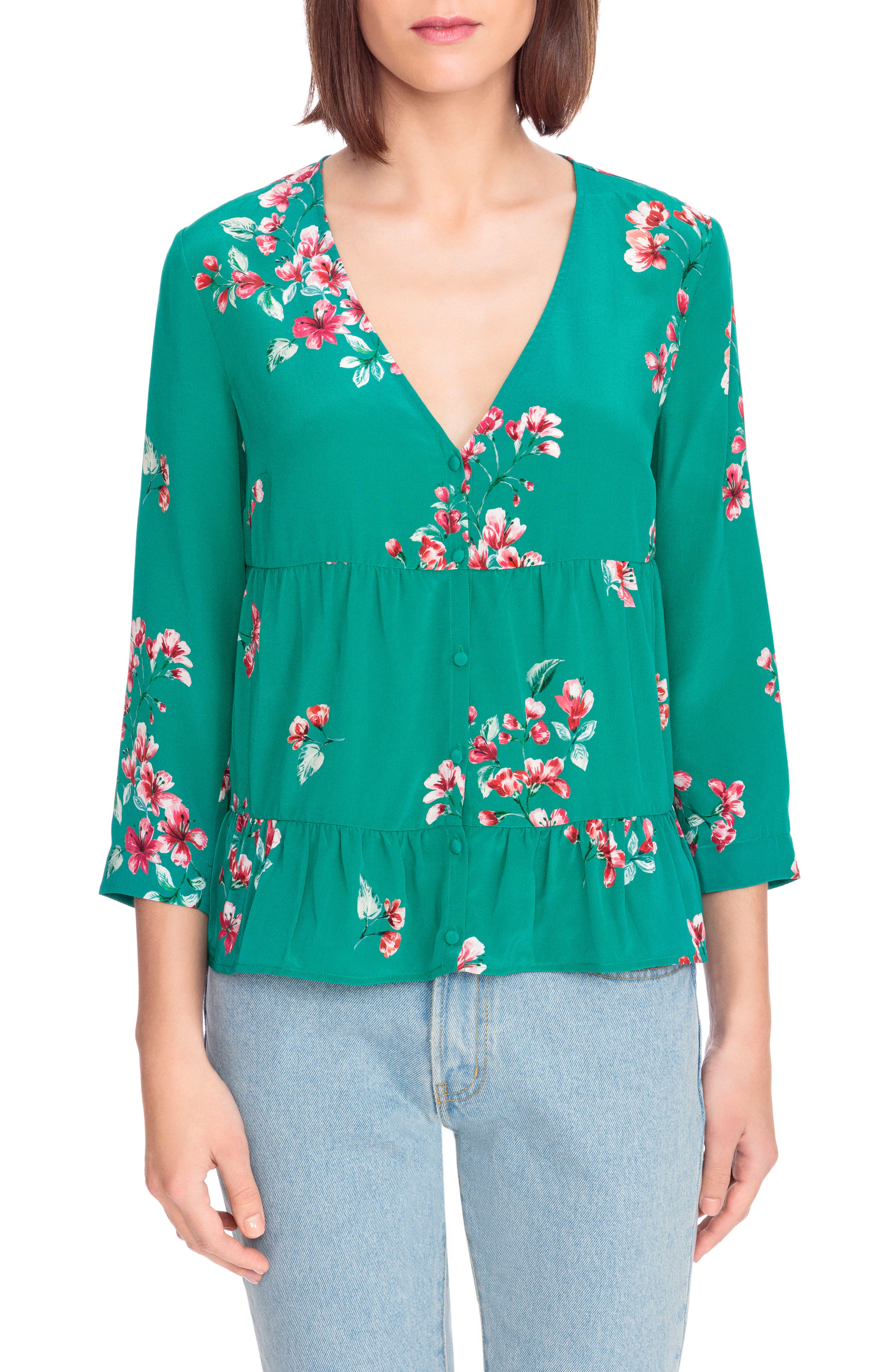 Anna Floral Silk Blouse,                             Main thumbnail 1, color,                             Bouquet Print On Green
