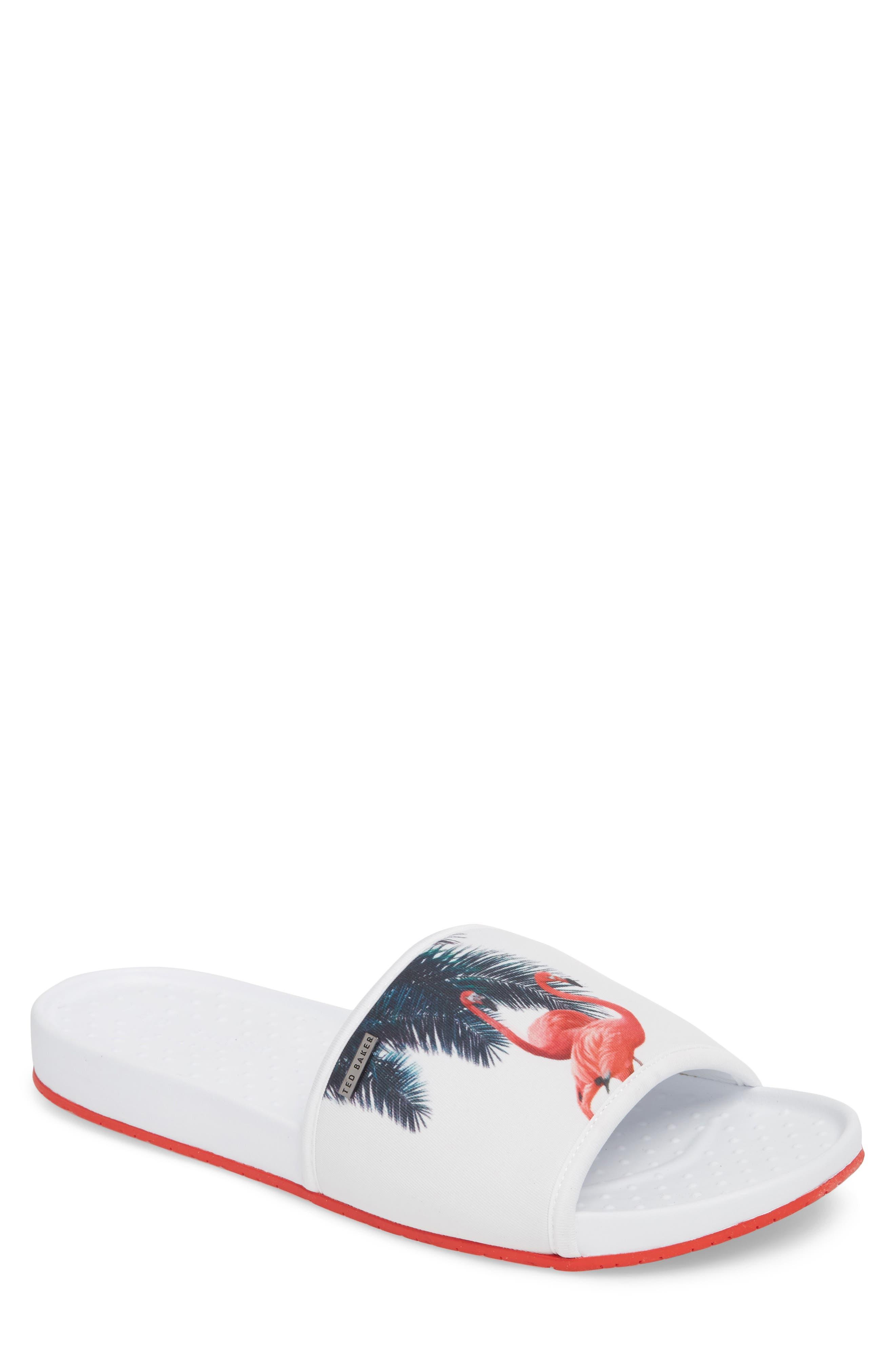 Sauldi 2 Slide Sandal,                             Main thumbnail 1, color,                             White/ Red Textile