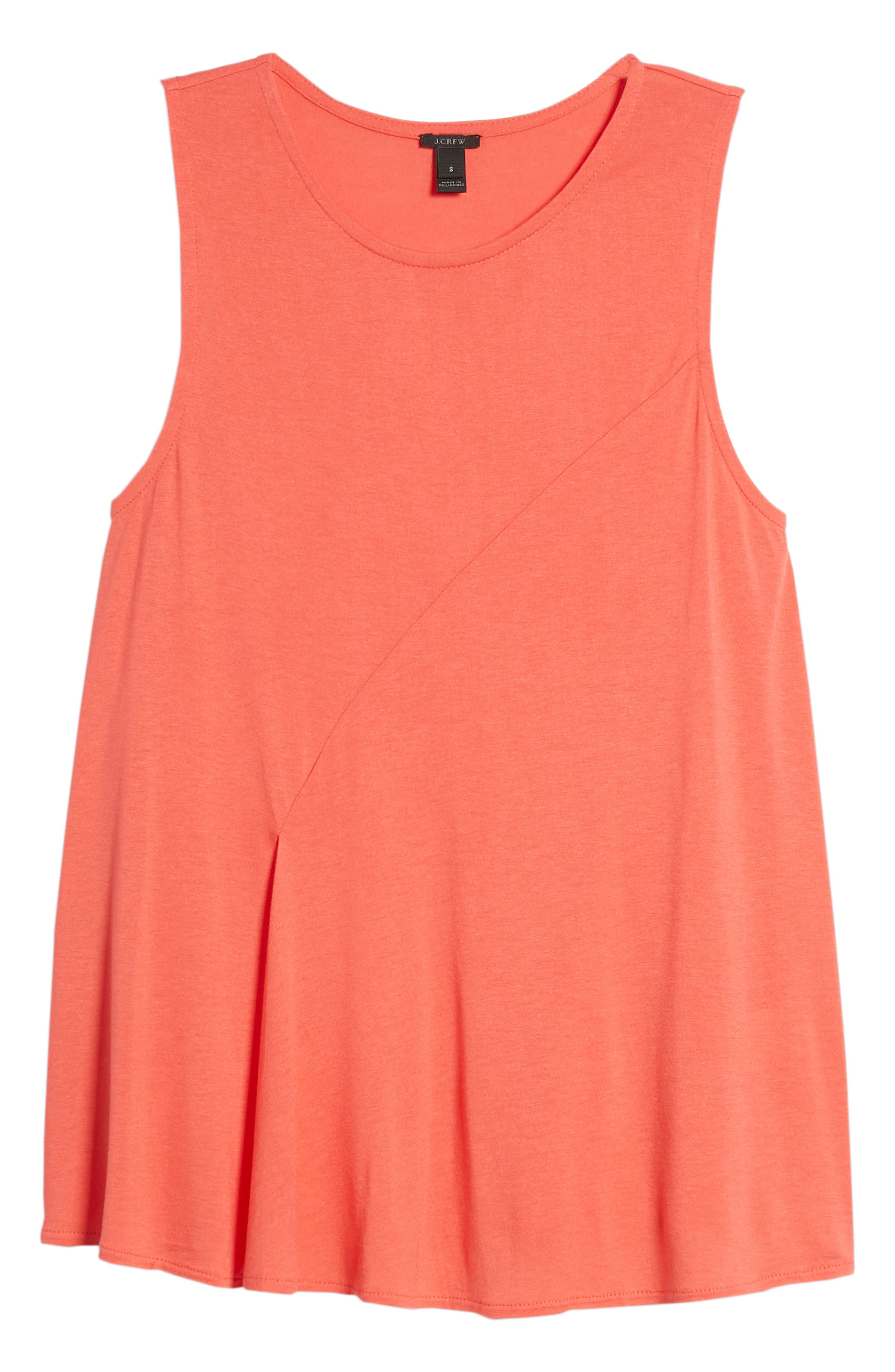 J.Crew Pleated Swing Tank Top,                             Alternate thumbnail 7, color,                             Coral