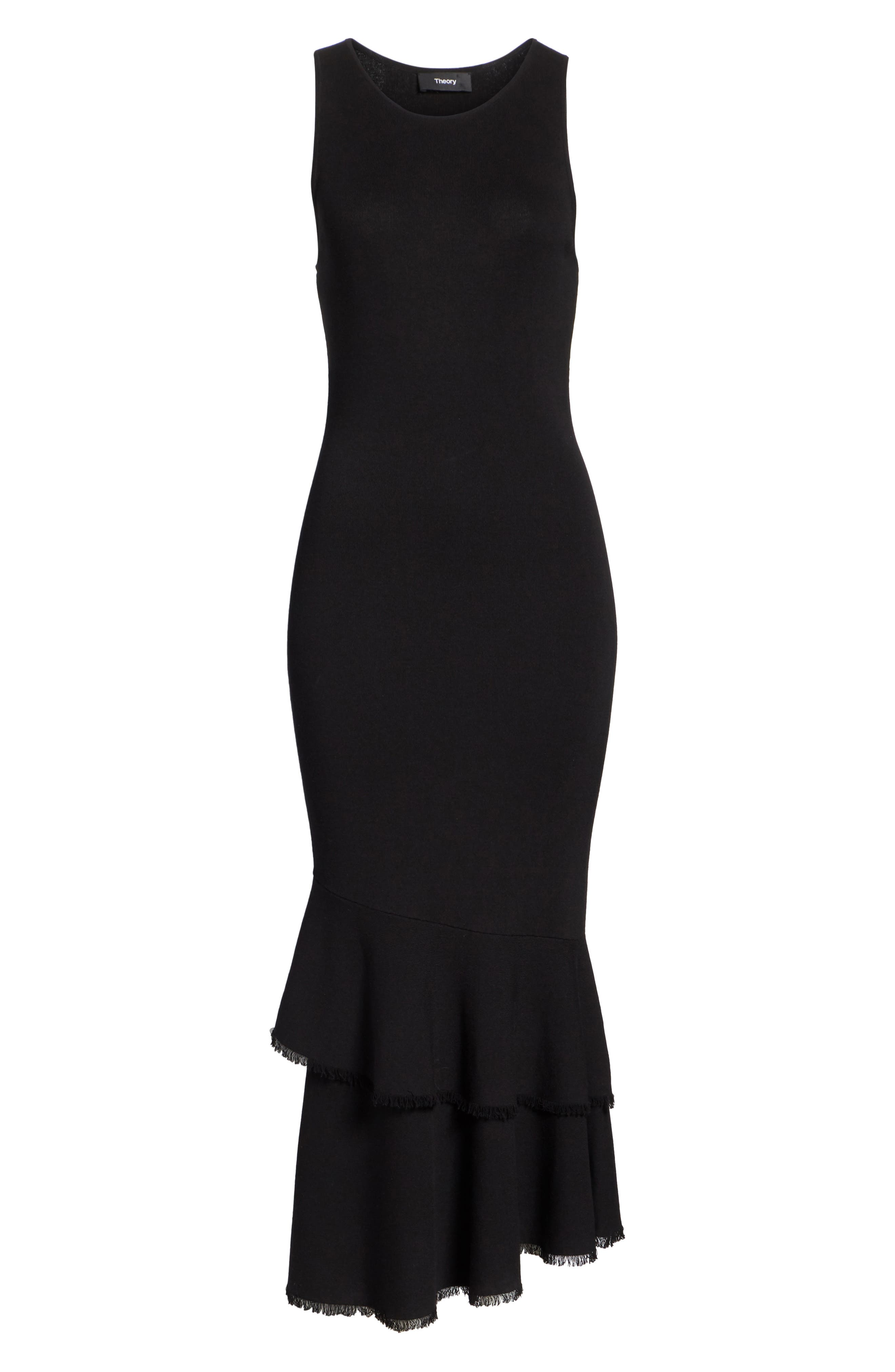 Nilimary Prosecco Midi Dress,                             Alternate thumbnail 6, color,                             Black