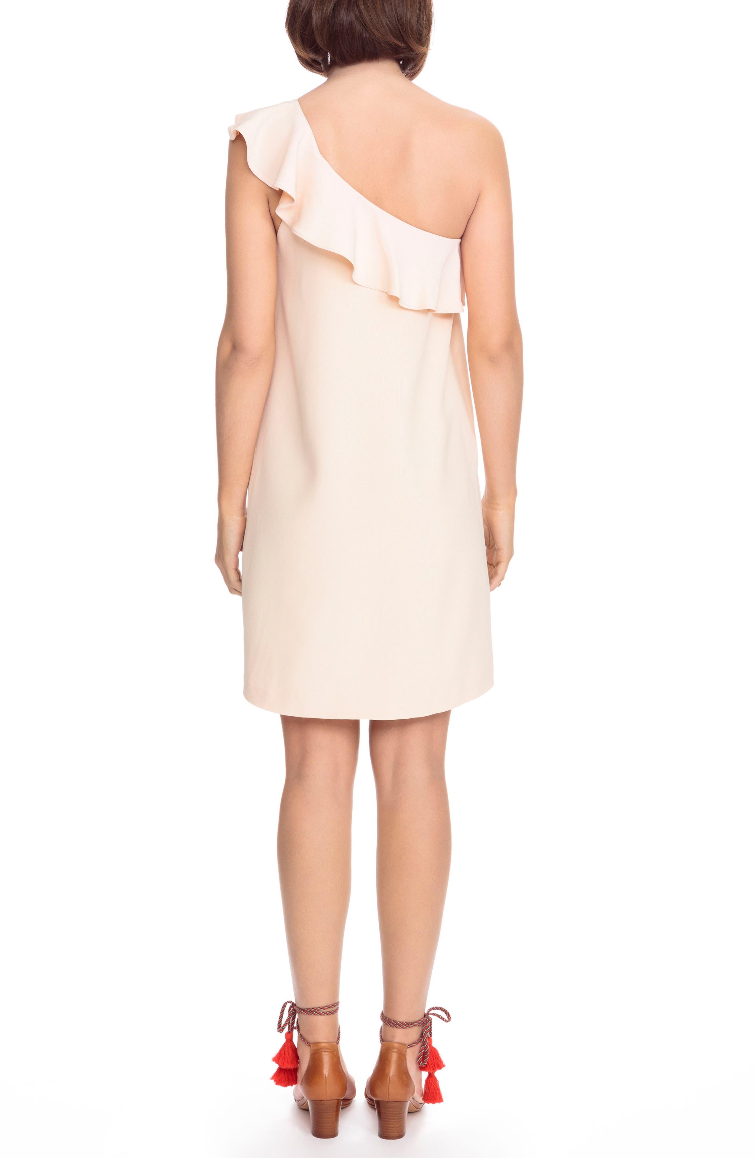 Louison Ruffle One-Shoulder Shift Dress,                             Alternate thumbnail 2, color,                             Nude