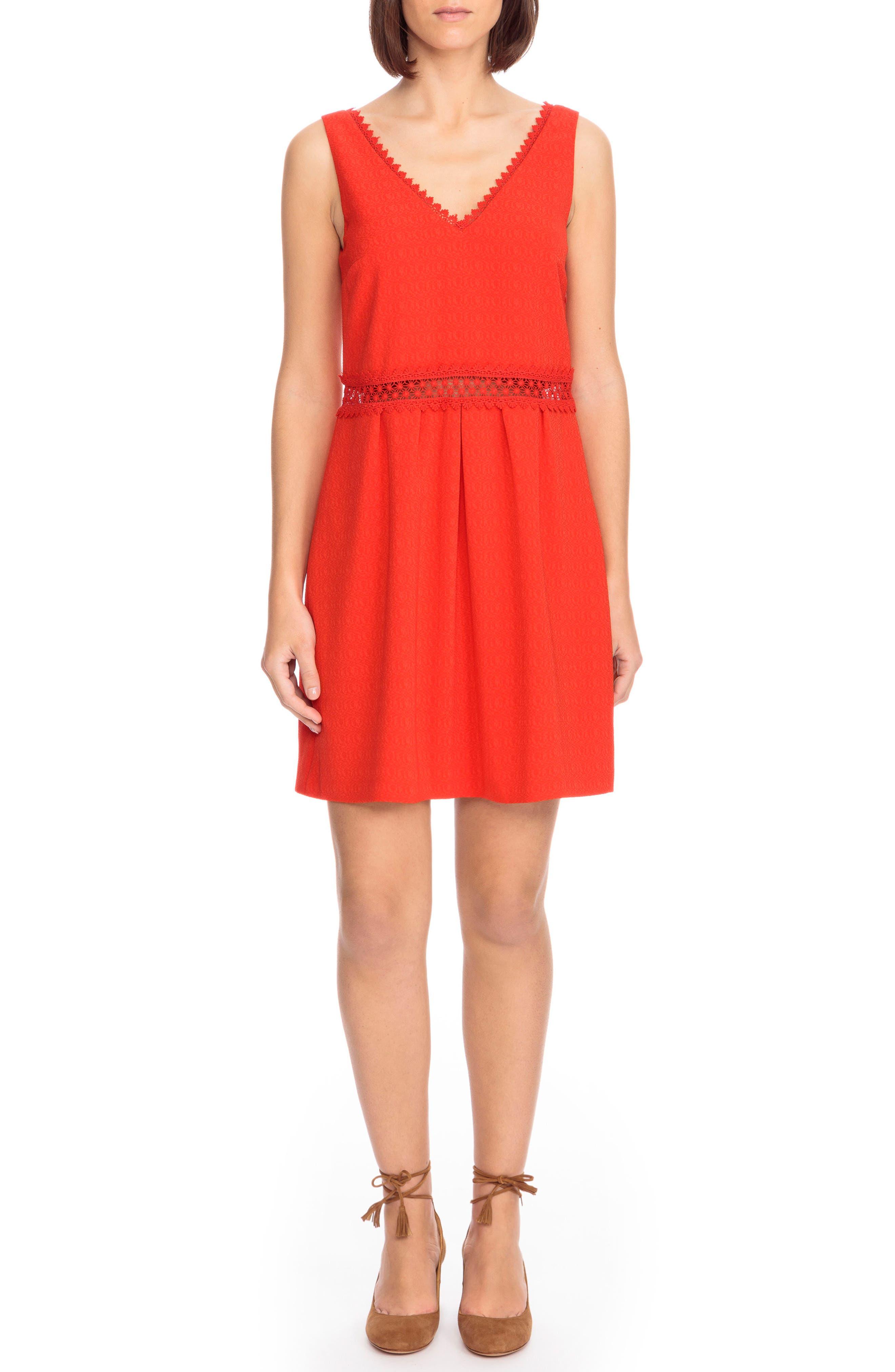 Daniela Lace Trim A-Line Dress,                             Main thumbnail 1, color,                             Coral Red