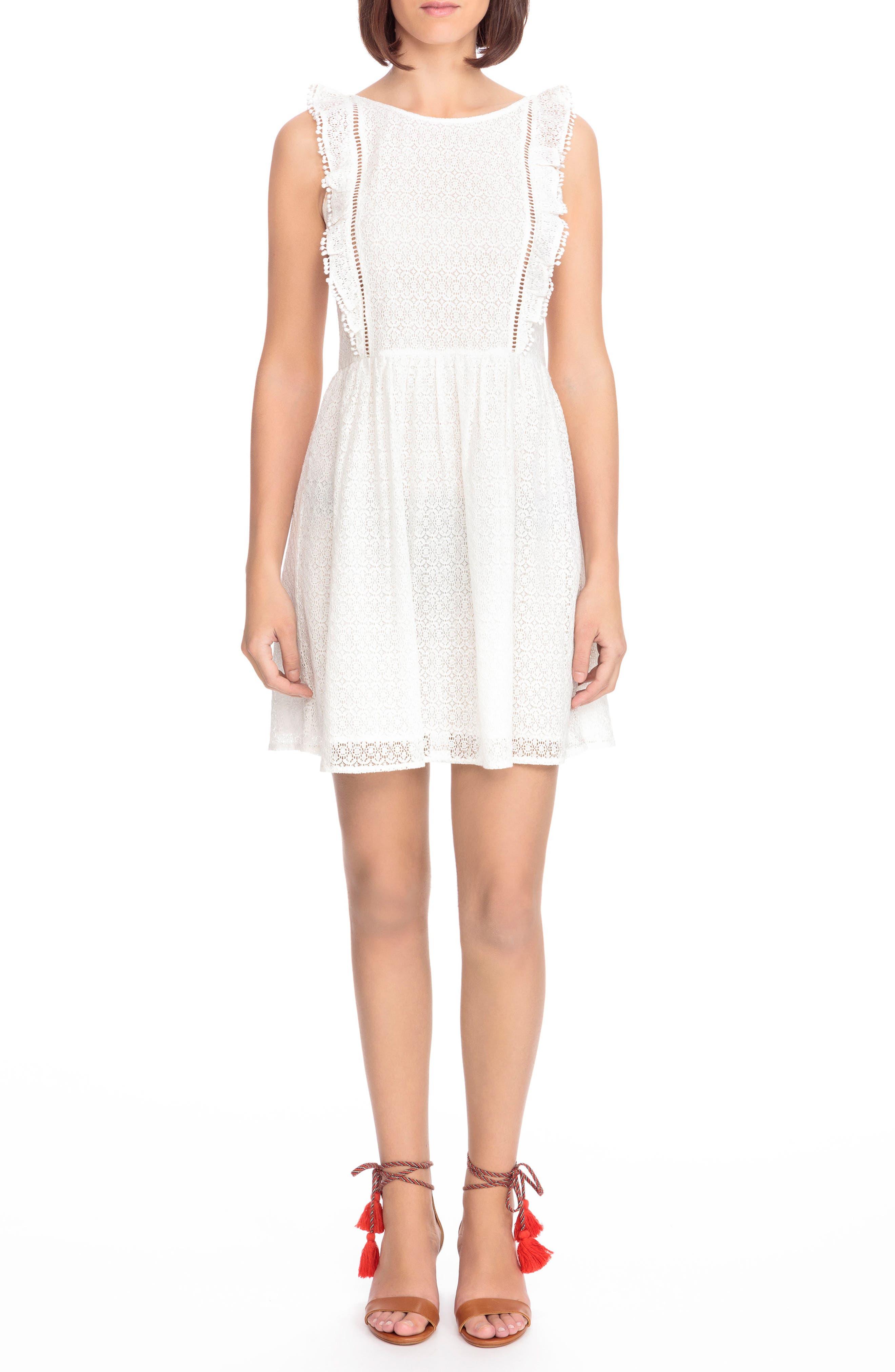 Calie Lace A-Line Dress,                             Main thumbnail 1, color,                             Off White