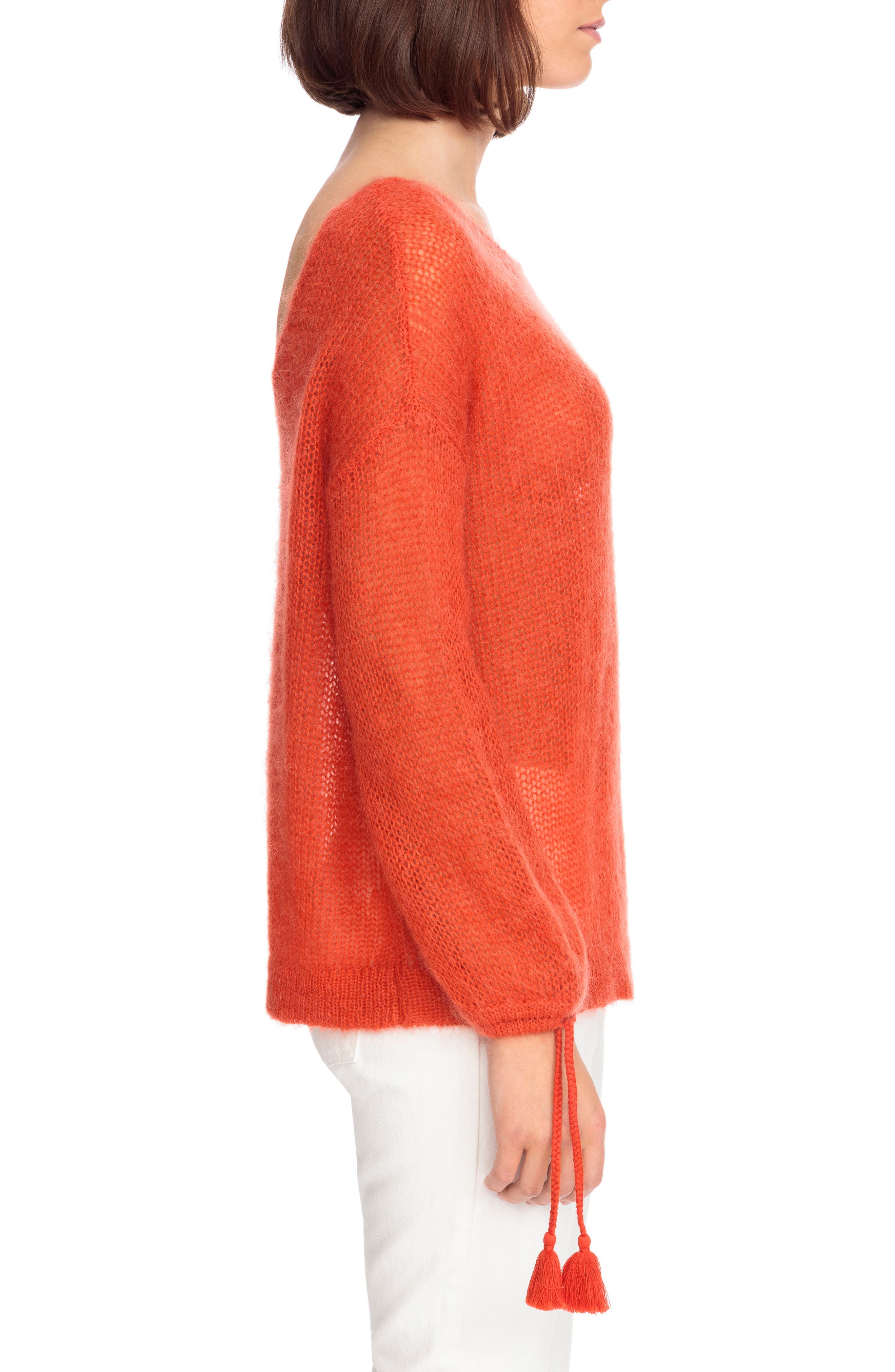 Dicky Tie Cuff Sweater,                             Alternate thumbnail 4, color,                             Orange Red